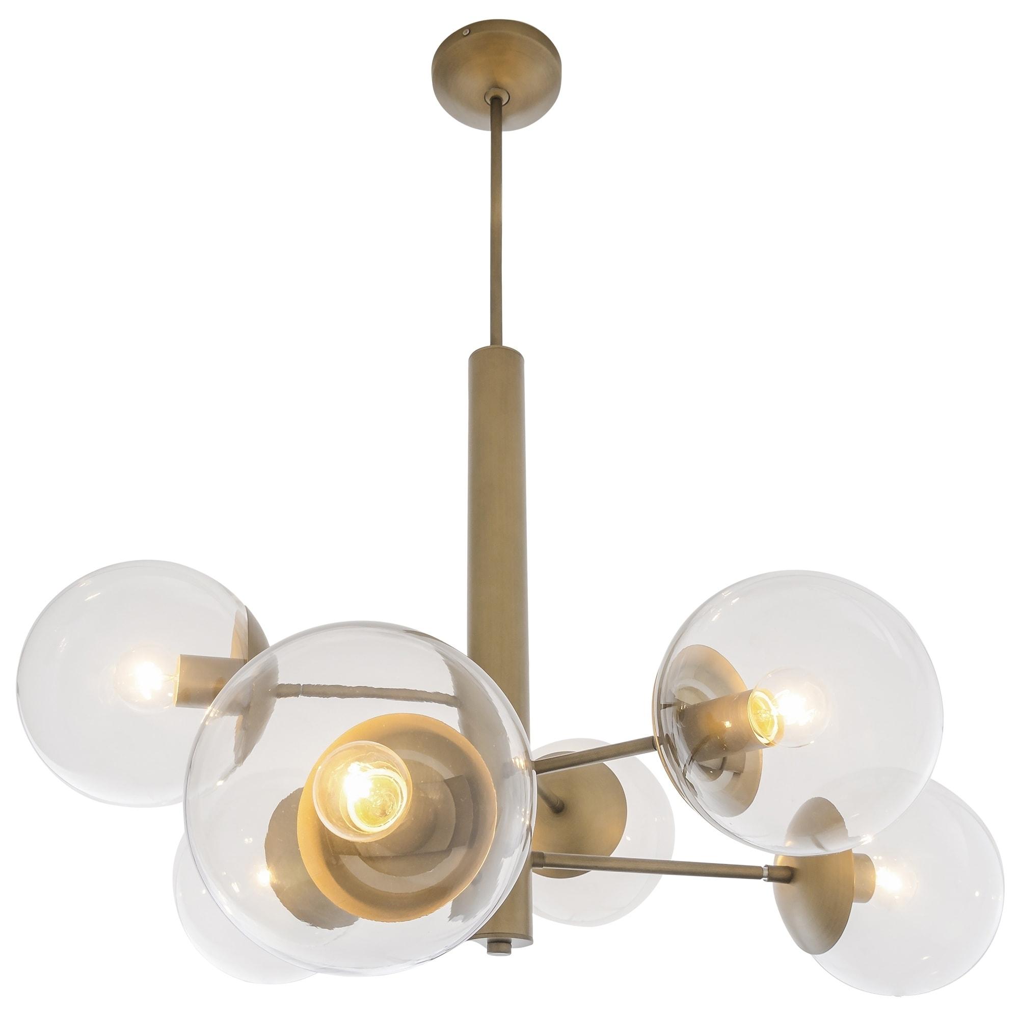 Mid century 6 light antique brass chandelier