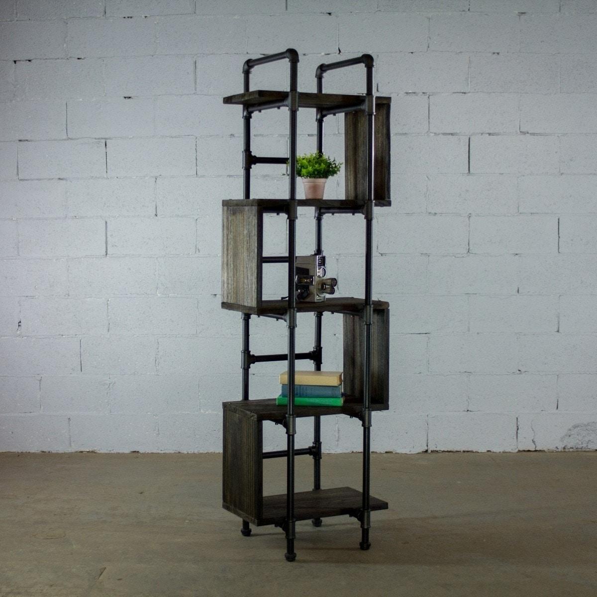 Furniture pipeline tucson modern tall narrow 5 shelf industrial etagere bookcase display