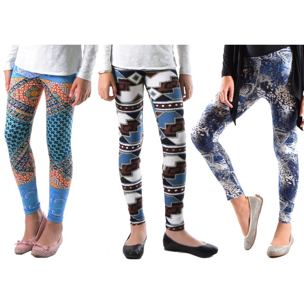 b8e21a2f6 Shop Girls Leggings Fun Print Soft AND Light Fit Girls ONE Size 4-5 to 6-7  Year Old (3-Pack) - Free Shipping On Orders Over $45 - Overstock - 20444363