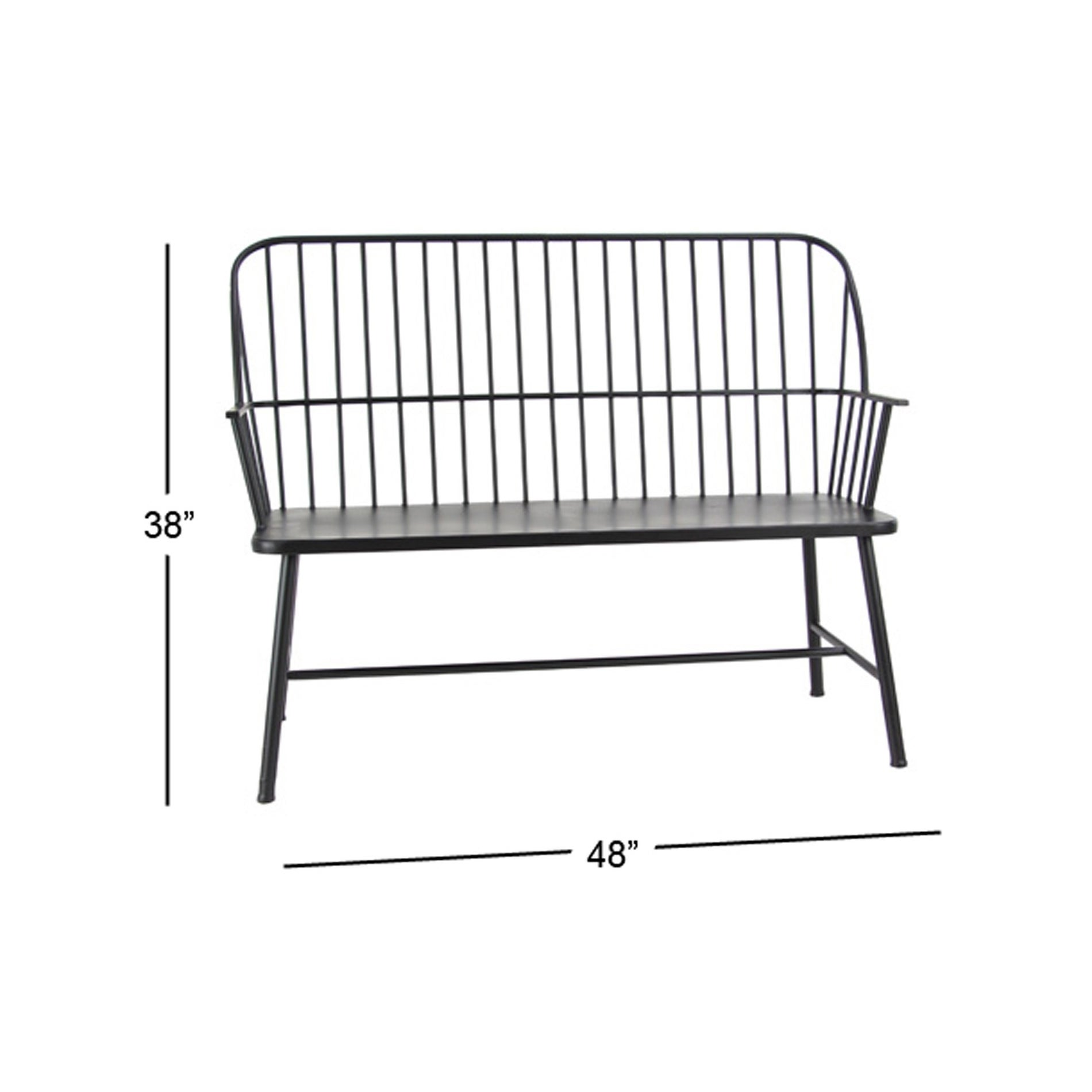 Shop Traditional 38 X 48 Inch Black Iron Patio Bench By Studio 350   On  Sale   Free Shipping Today   Overstock.com   20444685