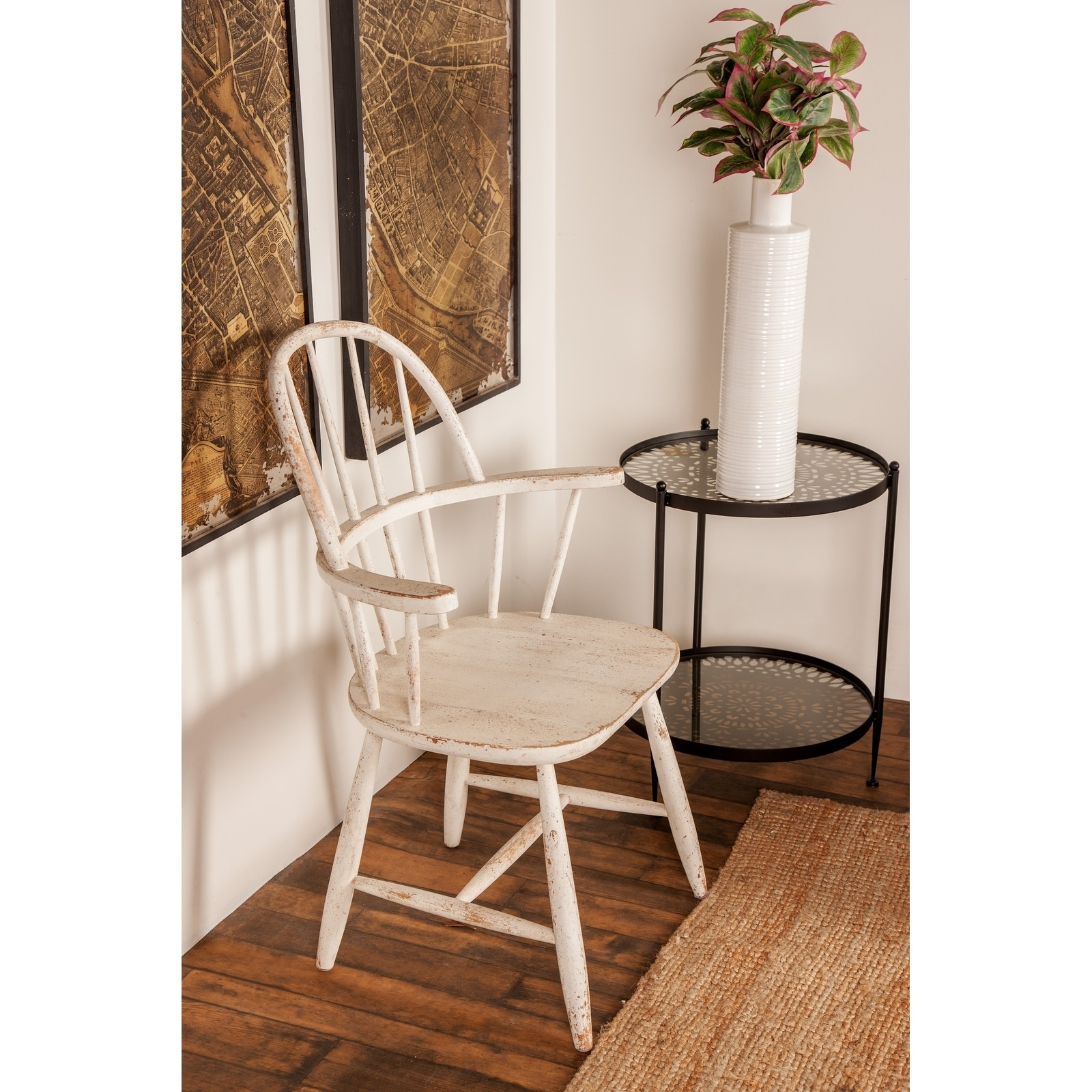 Shop Farmhouse Distressed White Wooden Chair By Studio 350   Free Shipping  Today   Overstock.com   20444798