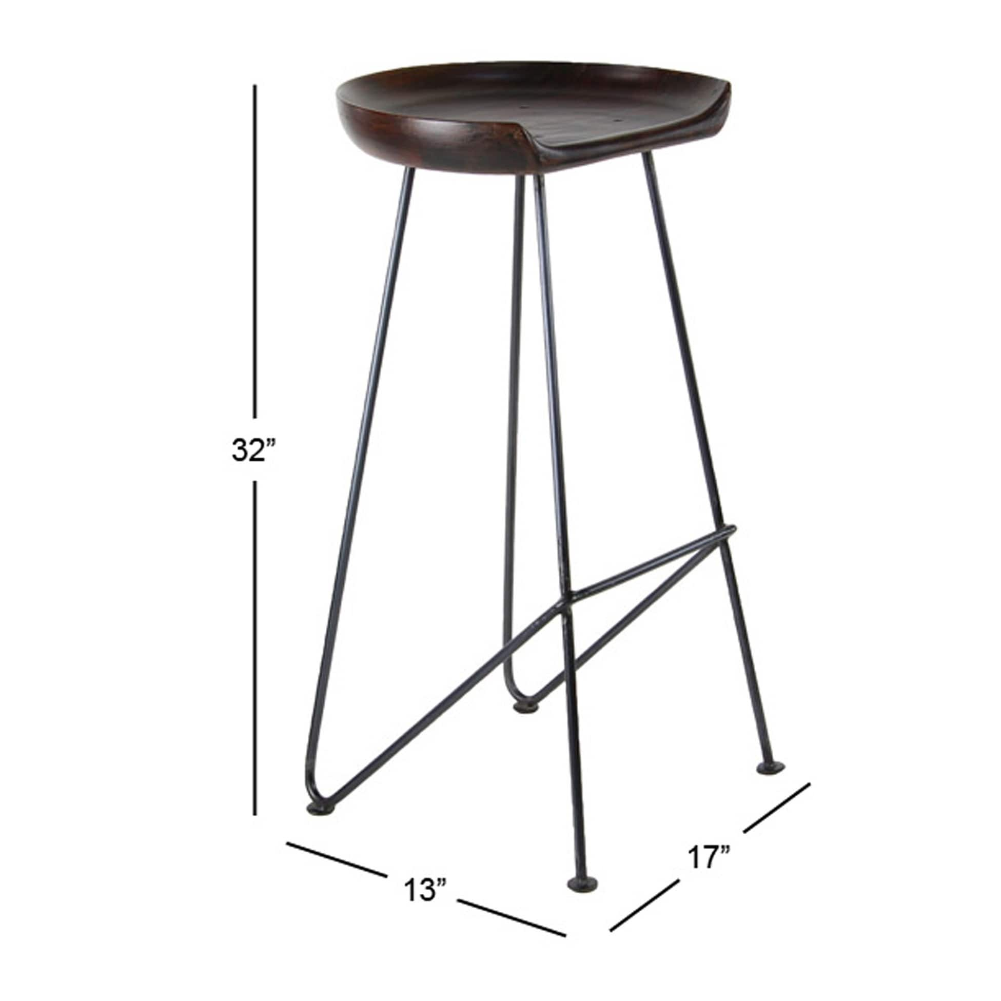 Modern 32 X 17 Inch Wood And Iron Bar Stool By Studio 350 On Free Shipping Today 20444846
