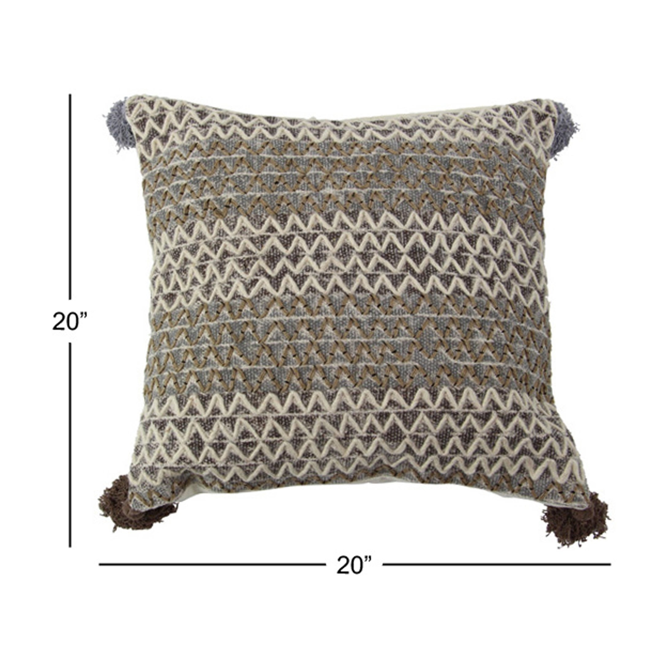 Rustic 19 X Inch Square Brown Cushion Cover With Compressed Filler