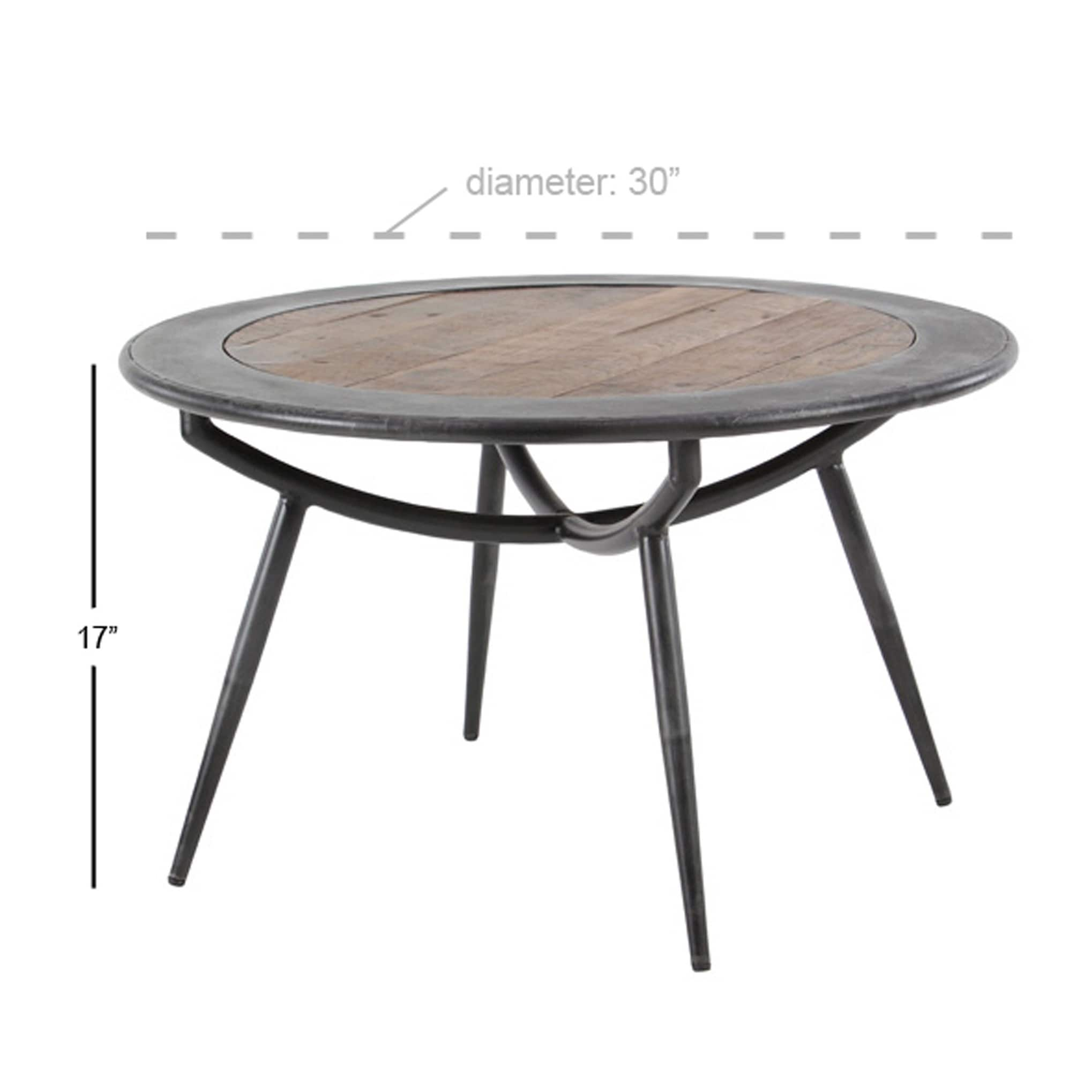Shop Rustic 17 X 30 Inch Wood And Iron Round Coffee Table On Sale