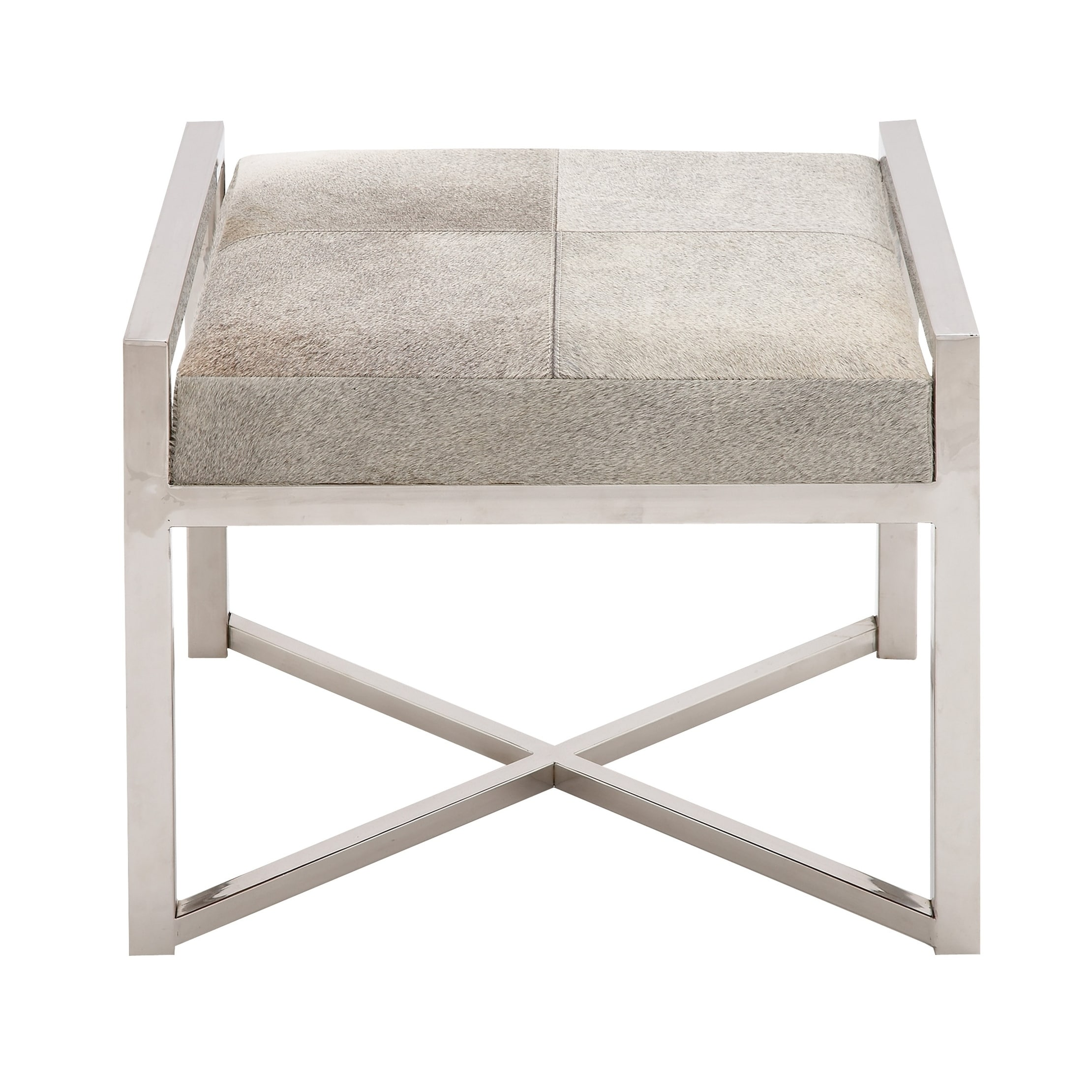 Modern 17 x 22 inch square steel wood foam and leather stool