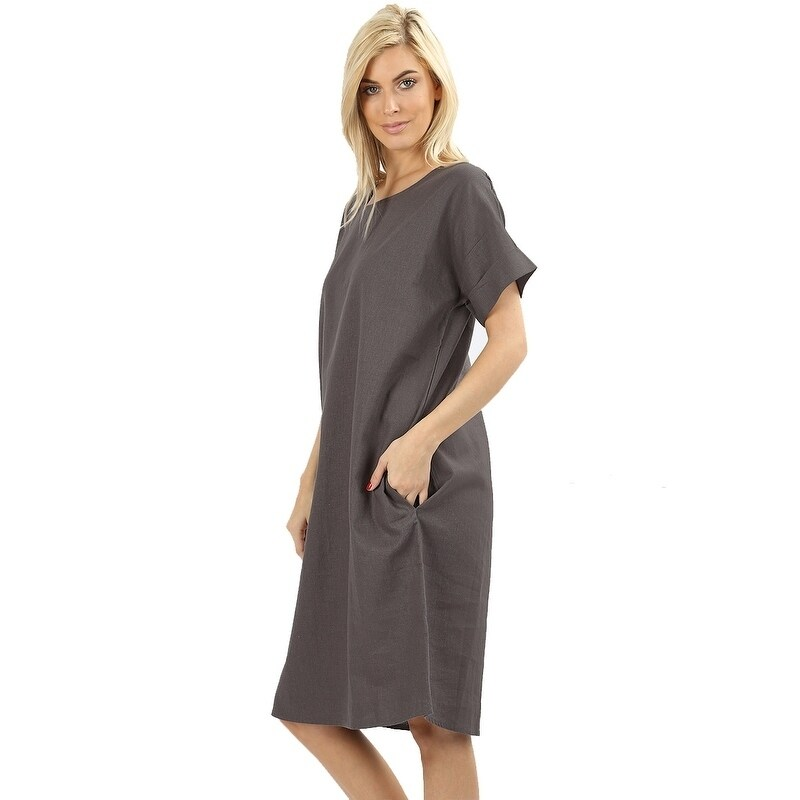 87c7e3f9c0 Shop JED Women s Relaxed Fit Knee Length Linen Casual Dress - On Sale -  Free Shipping On Orders Over  45 - Overstock - 20456512