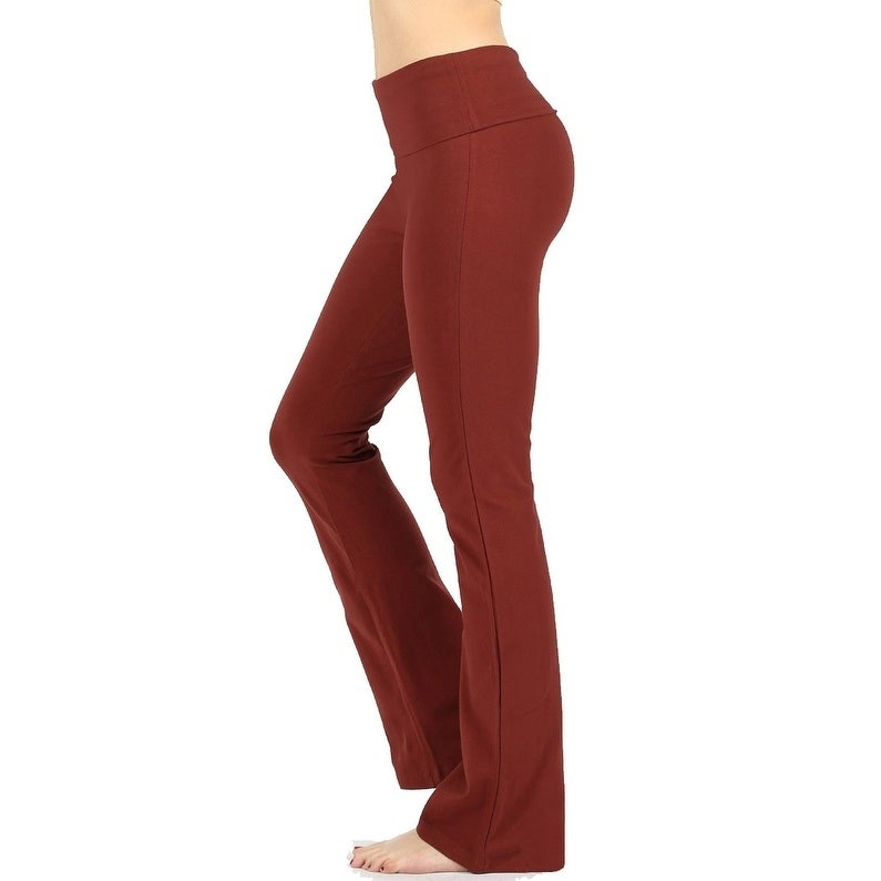 da38eb0ea5336 Shop JED Women's Ultra Stretchy Fold-Over Waist Flared Yoga Pants - On Sale  - Free Shipping On Orders Over $45 - Overstock - 20456520