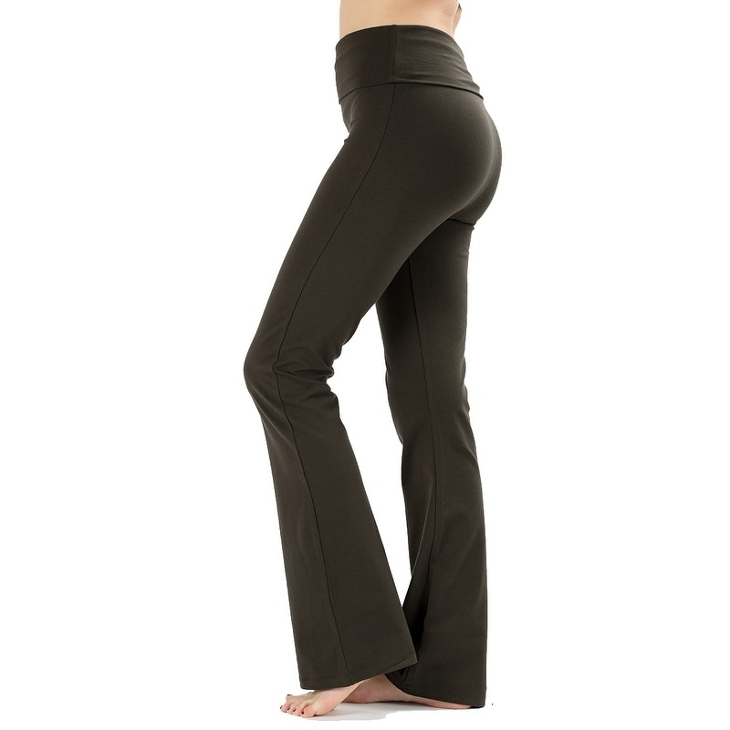 3bb82dbe75580 Shop JED Women's Ultra Stretchy Fold-Over Waist Flared Yoga Pants - On Sale  - Free Shipping On Orders Over $45 - Overstock - 20456520