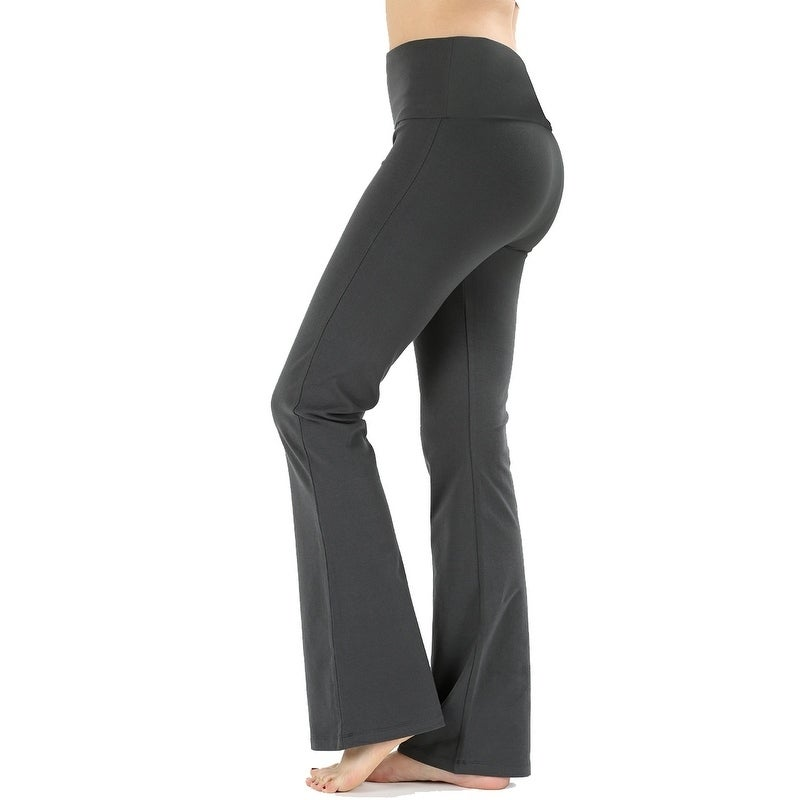 298d8dd9042f1d Shop JED Women's Ultra Stretchy Fold-Over Waist Flared Yoga Pants - On Sale  - Free Shipping On Orders Over $45 - Overstock - 20456520