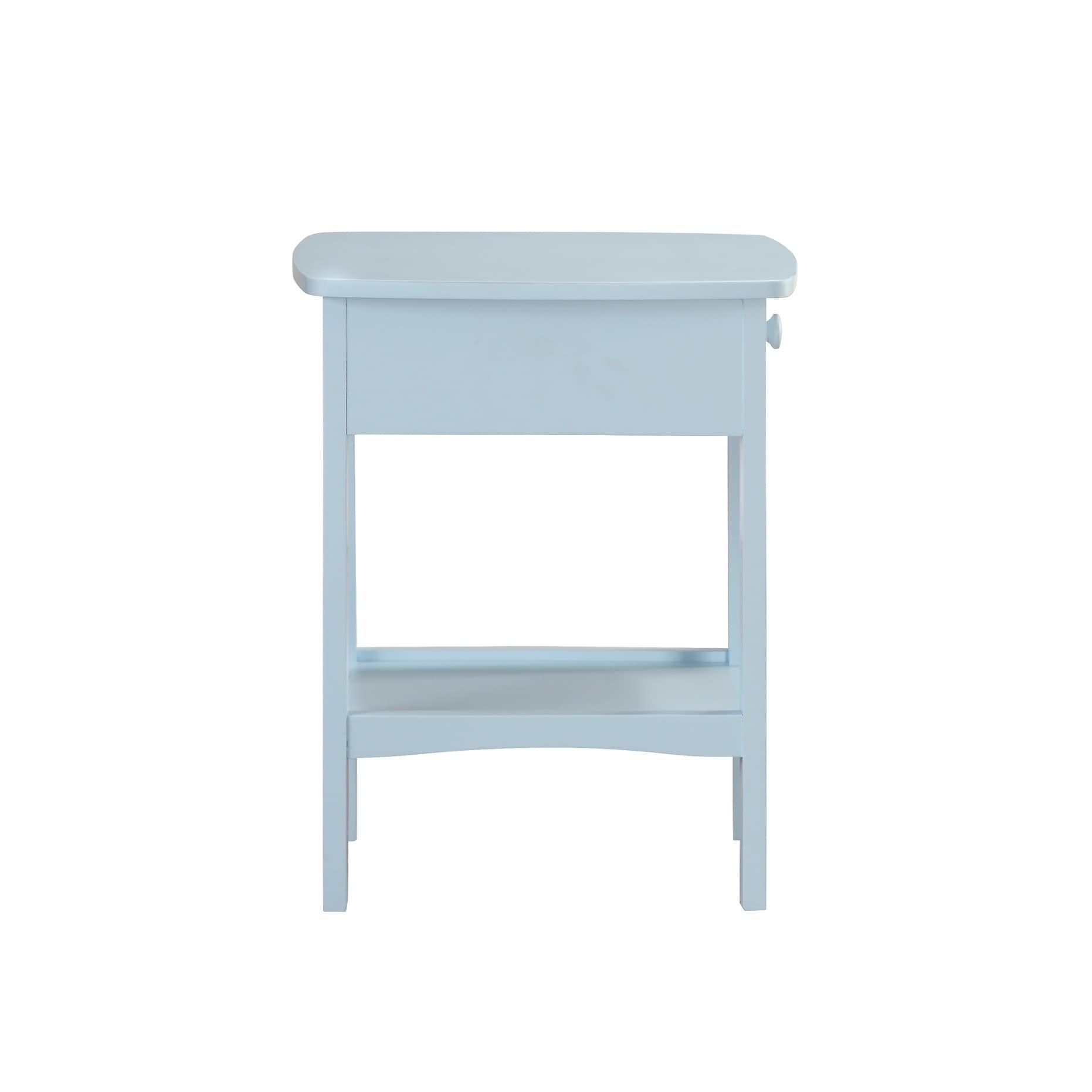Emerald Home Home Decor Light Blue 1-Drawer Nightstand - Free ...