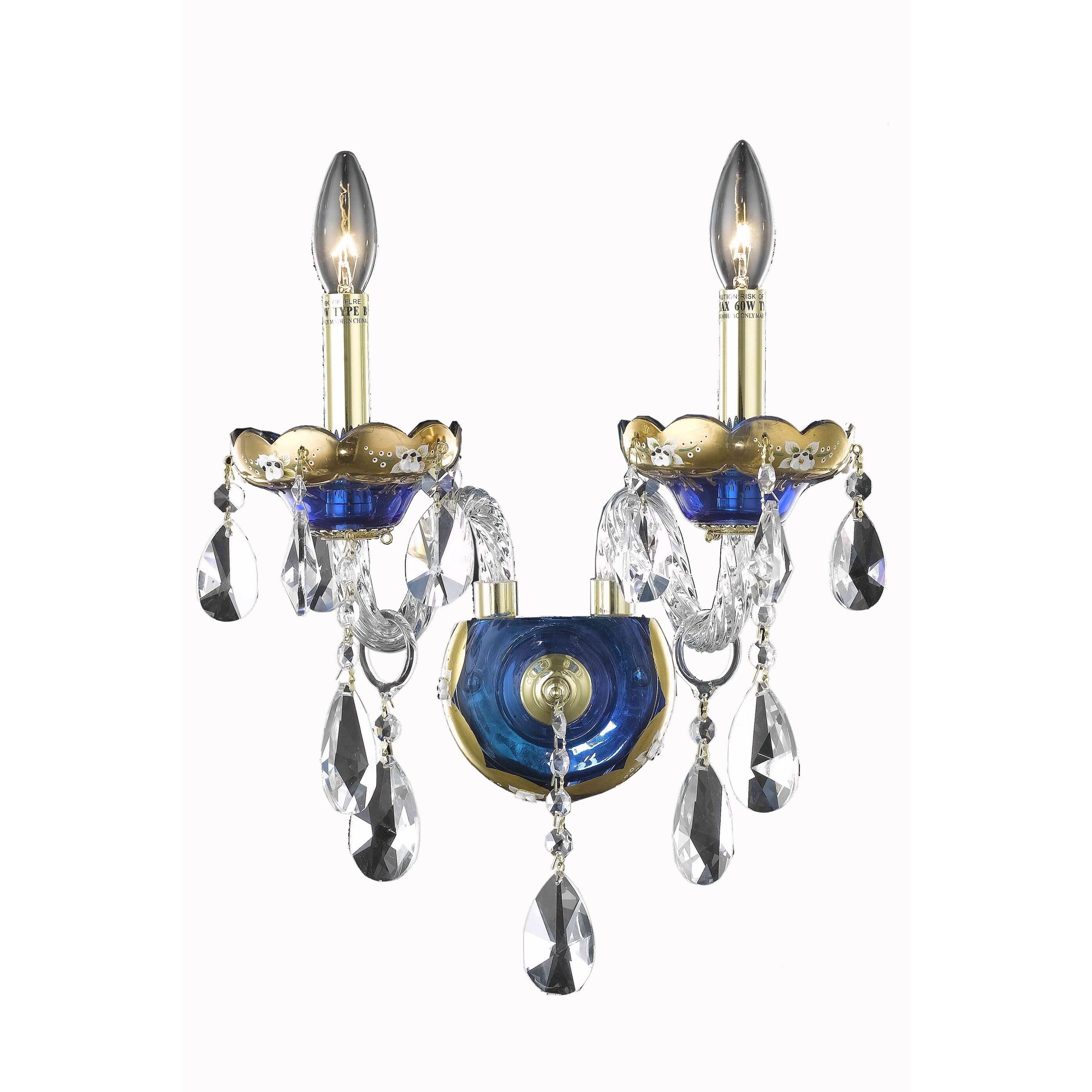 Shop Fleur Illumination 2 Light Blue Wall Sconce Free Shipping