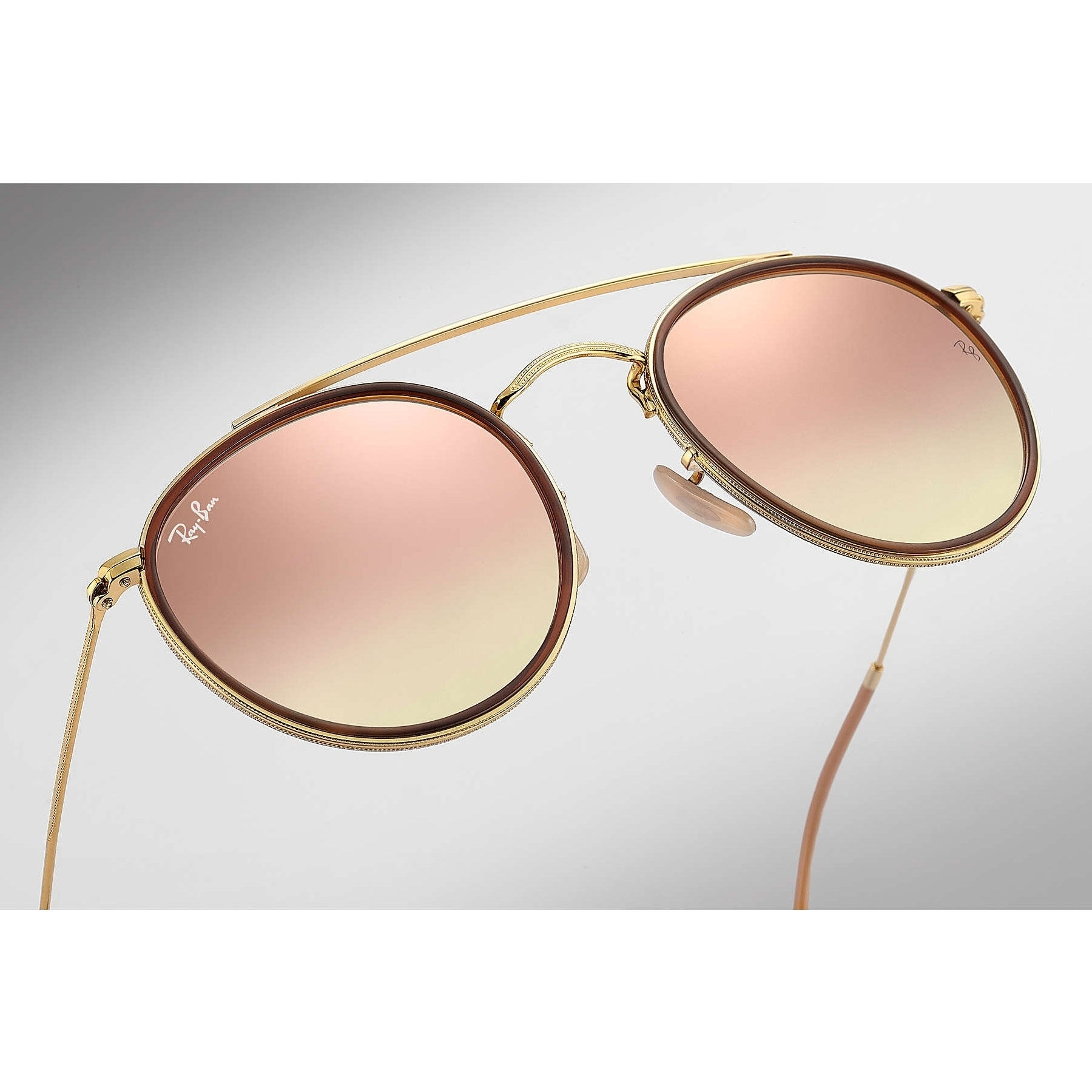 914dff5208d Shop Ray-Ban Round Double Bridge Sunglasses Gold  Copper Gradient Flash  51mm - Free Shipping Today - Overstock - 20457185