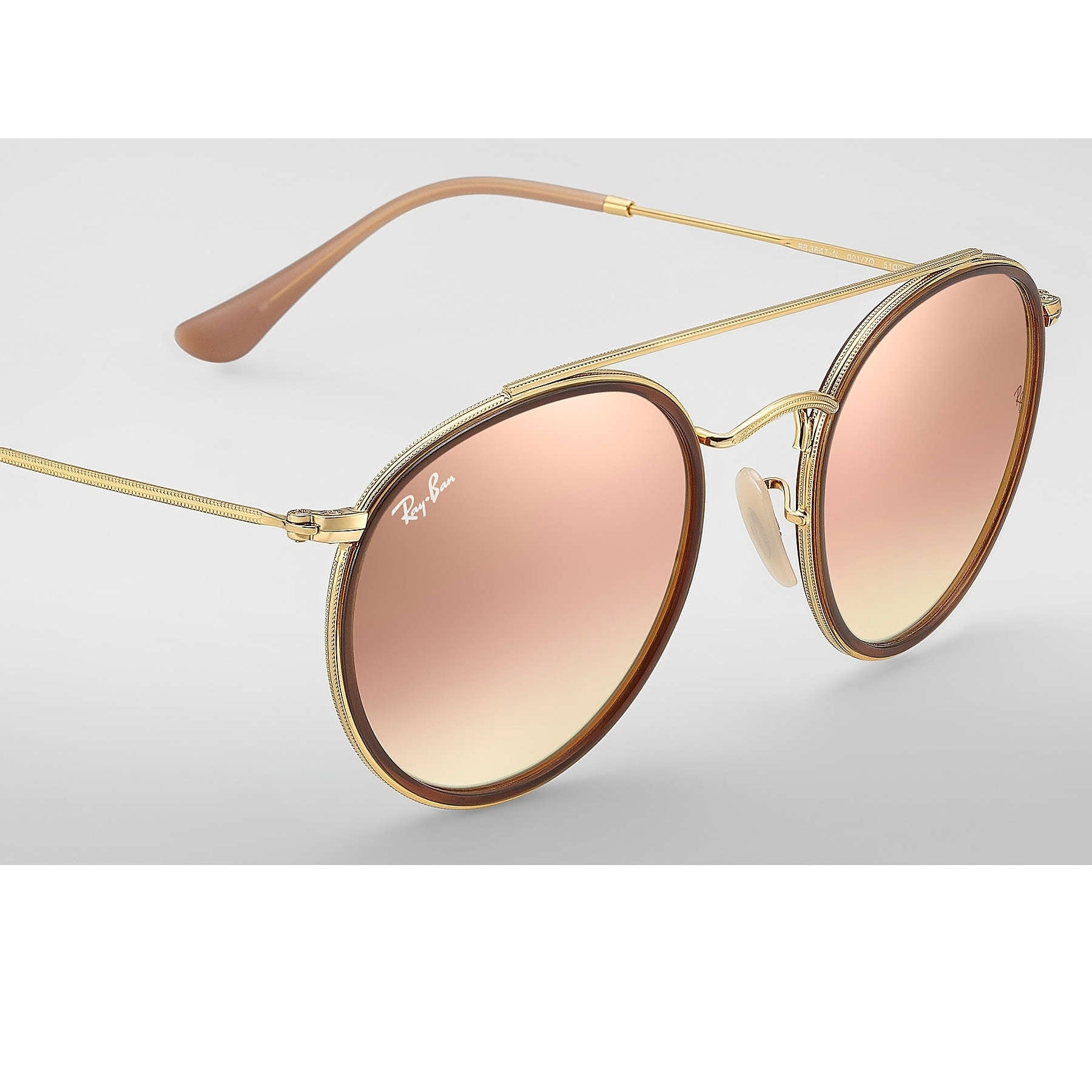 Shop Ray-Ban Round Double Bridge Sunglasses Gold  Copper Gradient Flash  51mm - Free Shipping Today - Overstock.com - 20457185 fe35beba1d