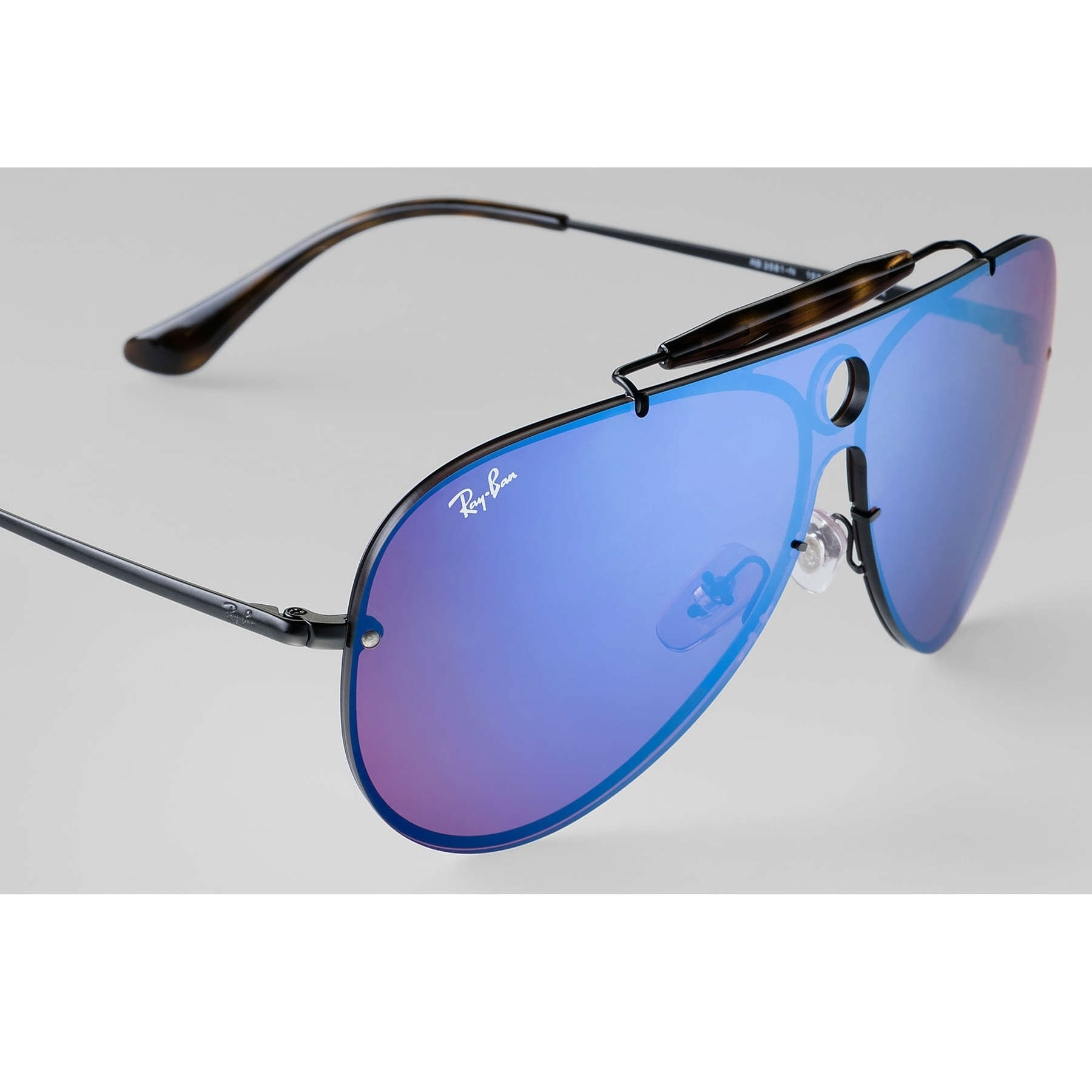 9c6a139867 Shop Ray-Ban RB3581N Blaze Sunglasses Black  Violet   Blue Mirror 32mm -  Free Shipping Today - Overstock - 20457188