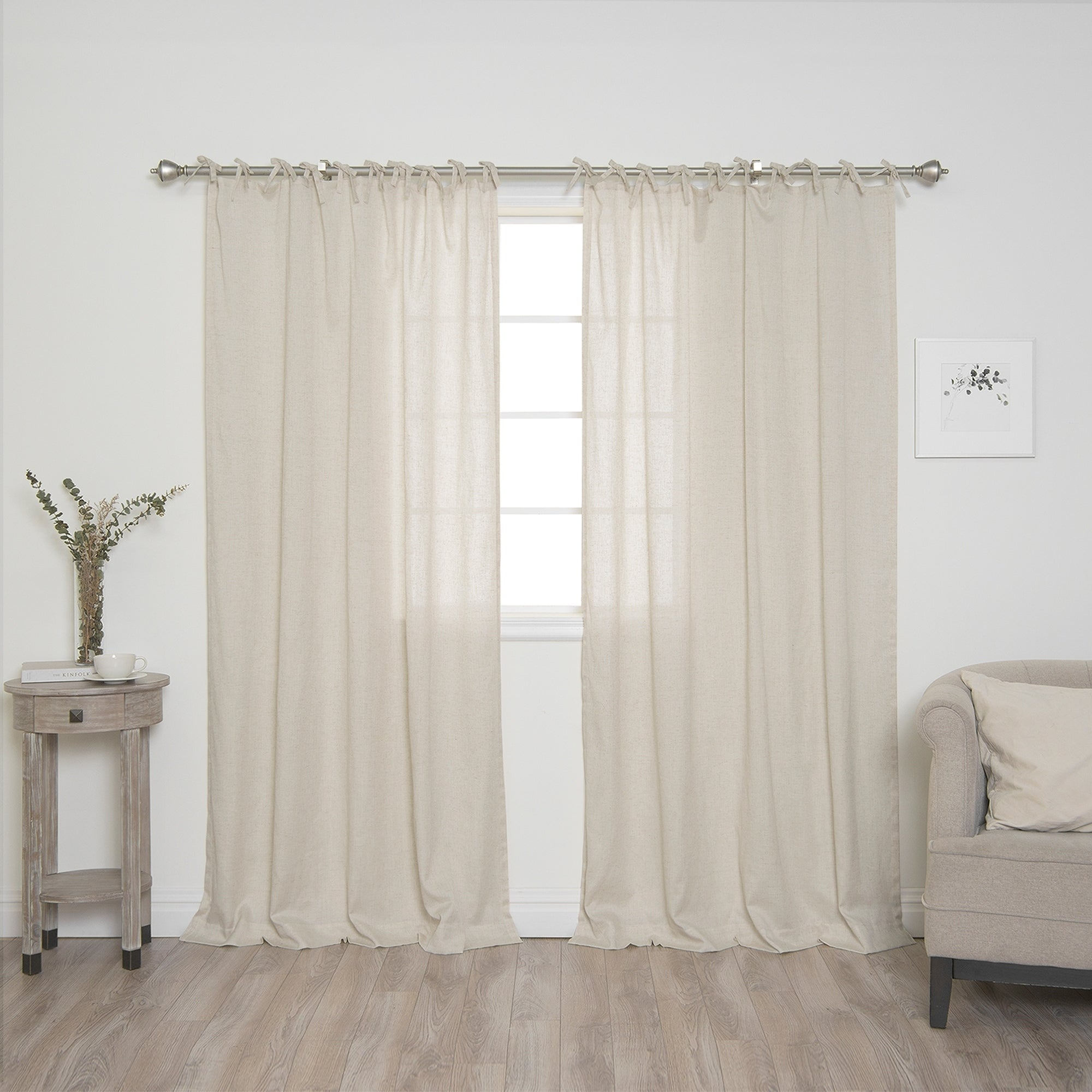 semi window drapes curtains rust grommet extra x w botanica p in panel linen elements sheer wide faux l curtain