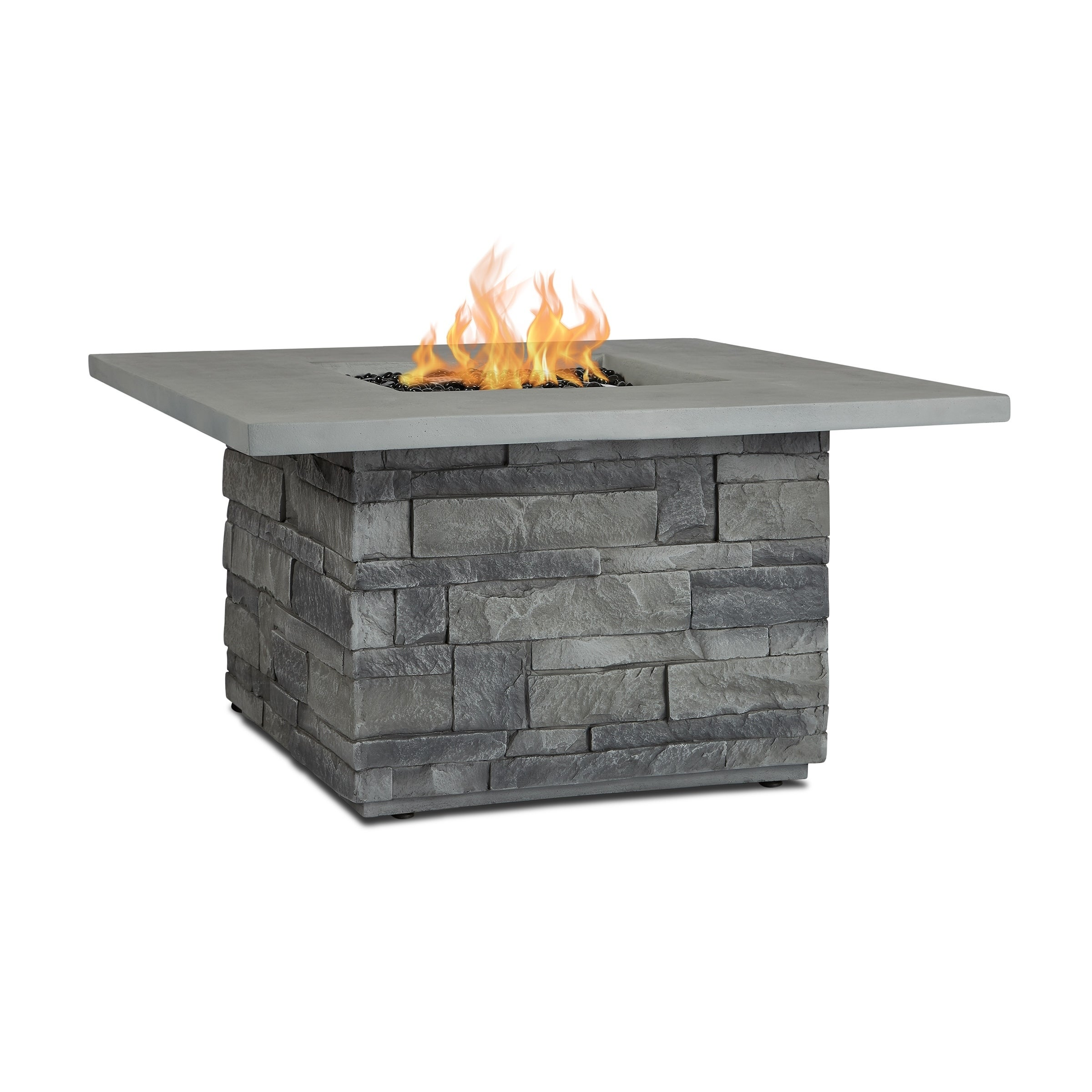 Lovely Real Flame Gray Ledgestone Sq. LP Fire Table W/NG Conversion Kit   Free  Shipping Today   Overstock.com   26318098
