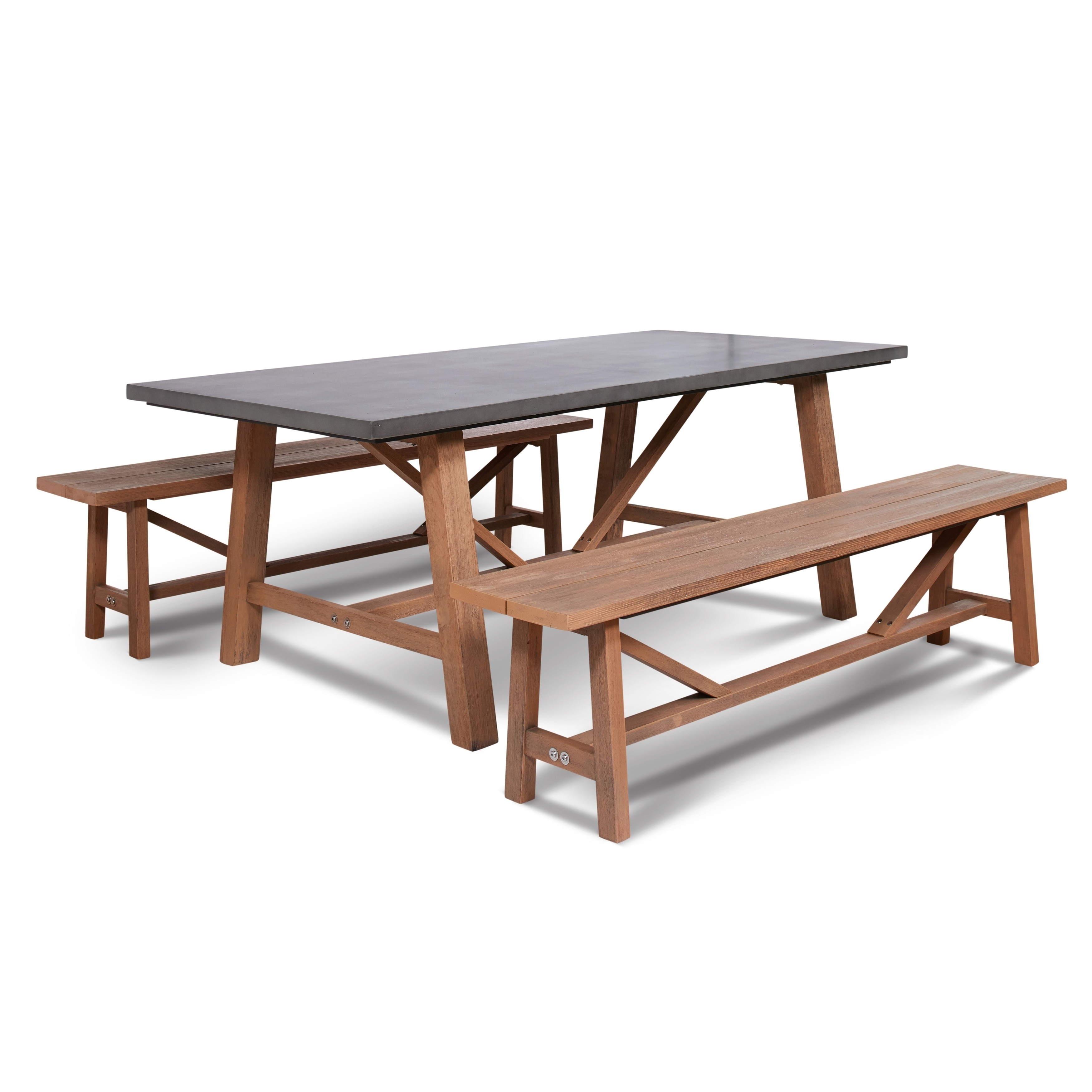 Shop Amalfi Cement Outdoor Dining Set With 2 Wood Benches   On Sale   Free  Shipping Today   Overstock.com   20458179