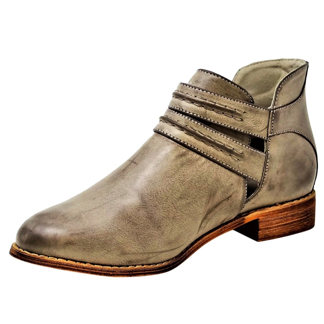 9ef77ecf78cd Shop Mata Shoes FN17 Women s V-cut Ankle Straps Block Low Heel Booties -  Free Shipping On Orders Over  45 - Overstock - 20458801