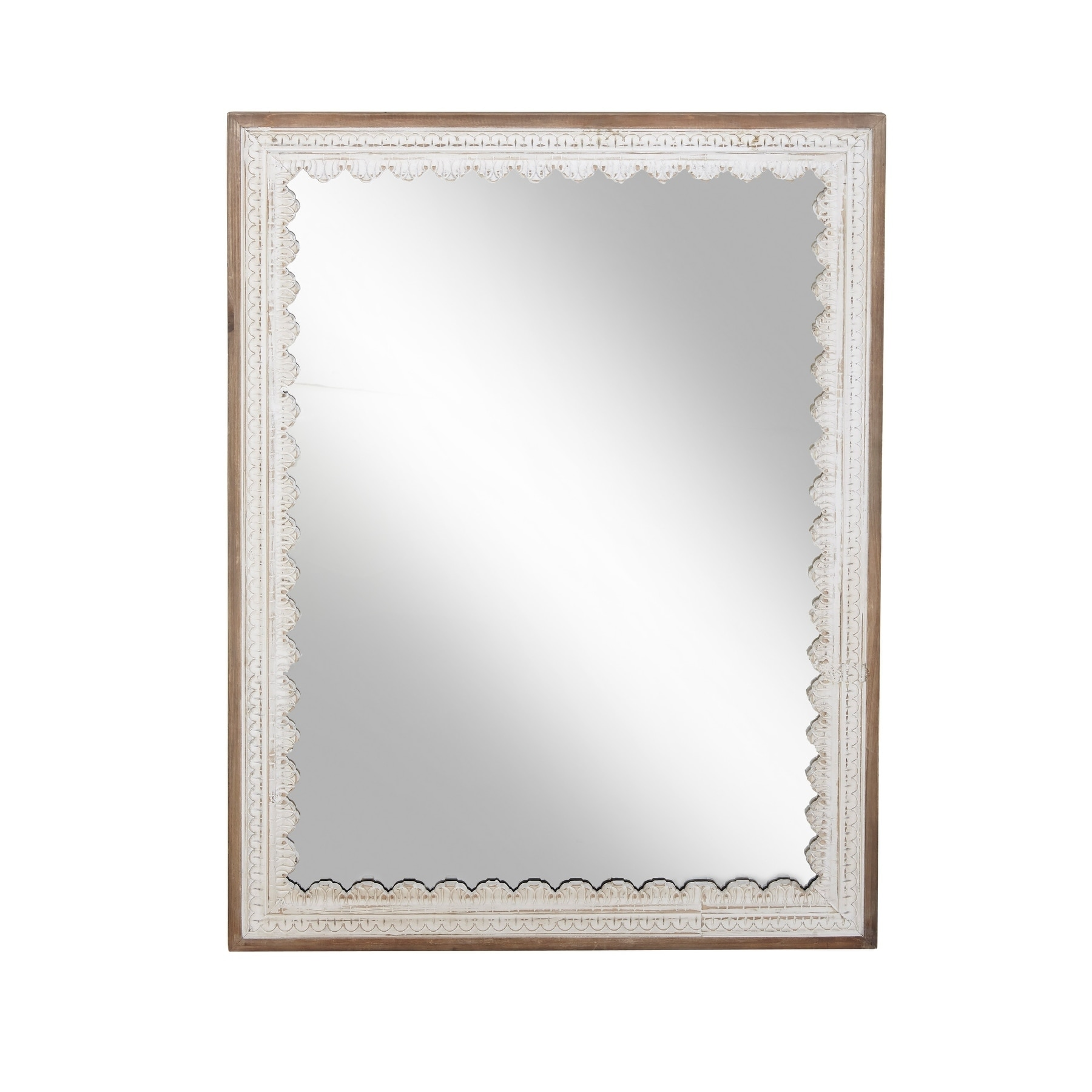 Modern 48 X 36 Inch Rectangular Wooden Framed Wall Mirror Brown Free Shipping Today 20460384