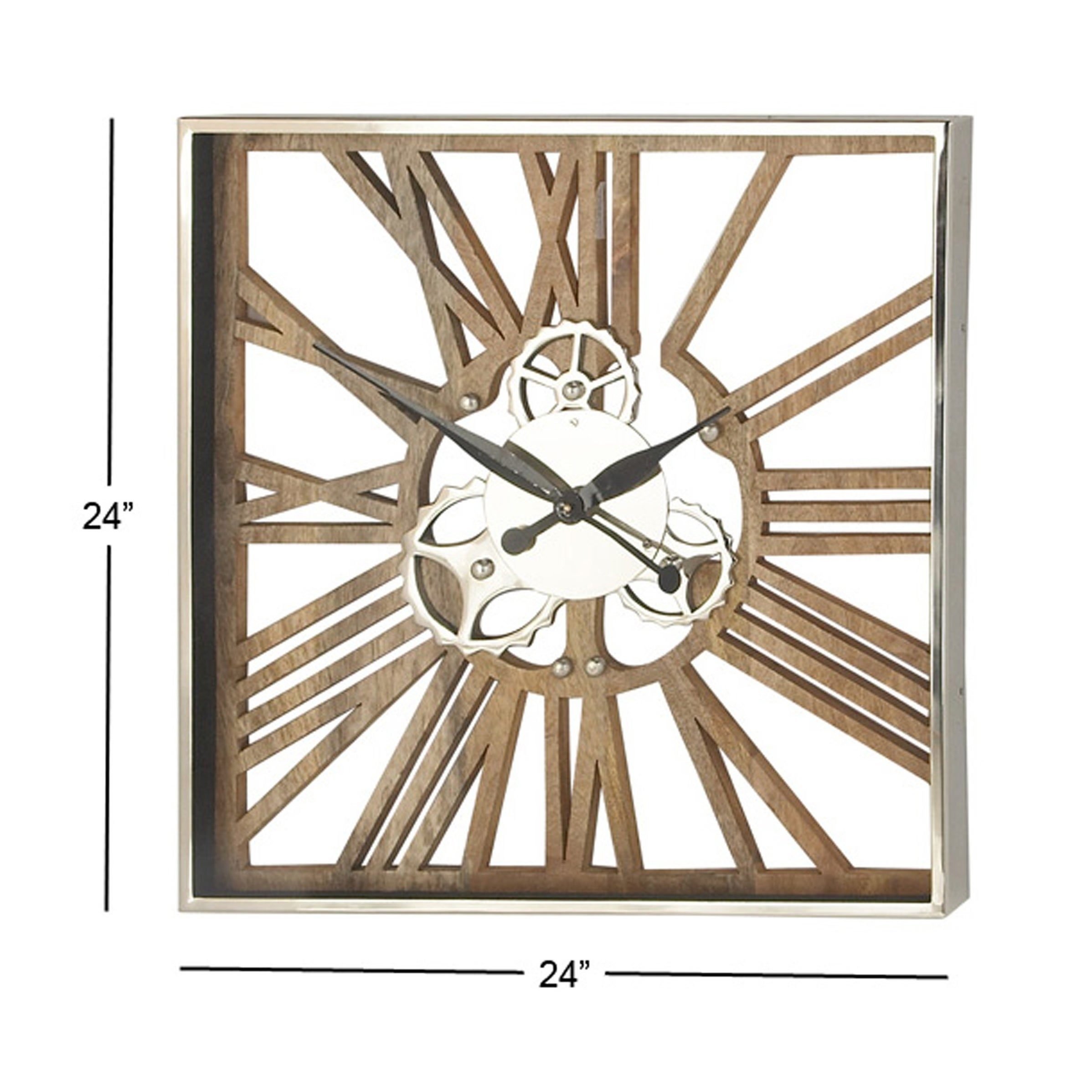 Shop Industrial 24 X 24 Inch Square Gear Wall Clock On Sale Free
