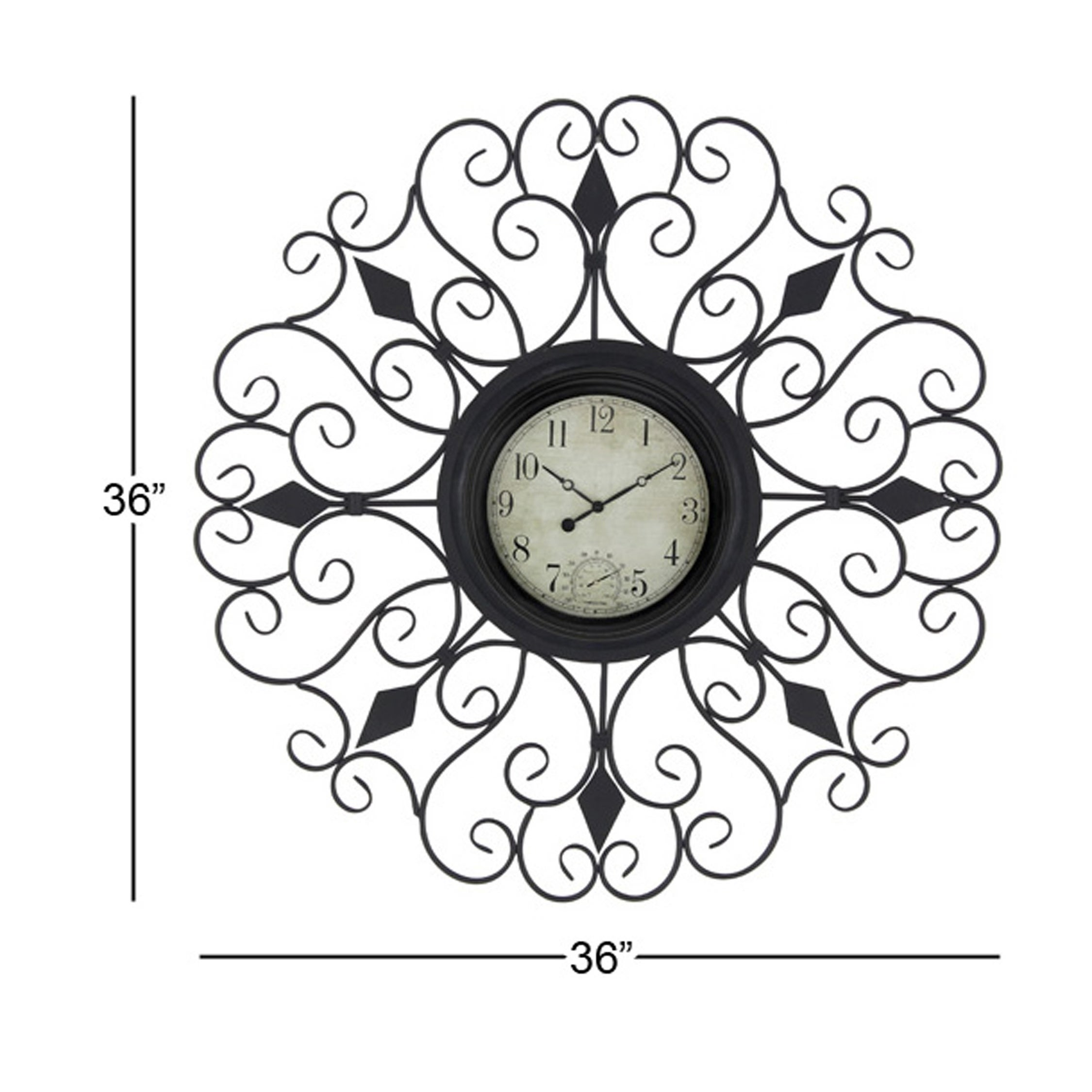 36 wall clock modern minimalist shop gracewood hollow tantaquidgeon traditional 36 inch tin scrollwork analog wall clock on sale free shipping today overstockcom 21065915