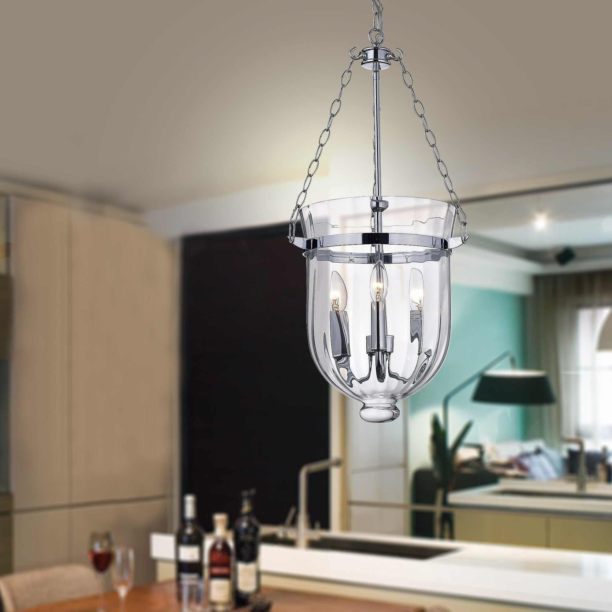 Chrome Finish Ribbed Gl Lantern Chandelier