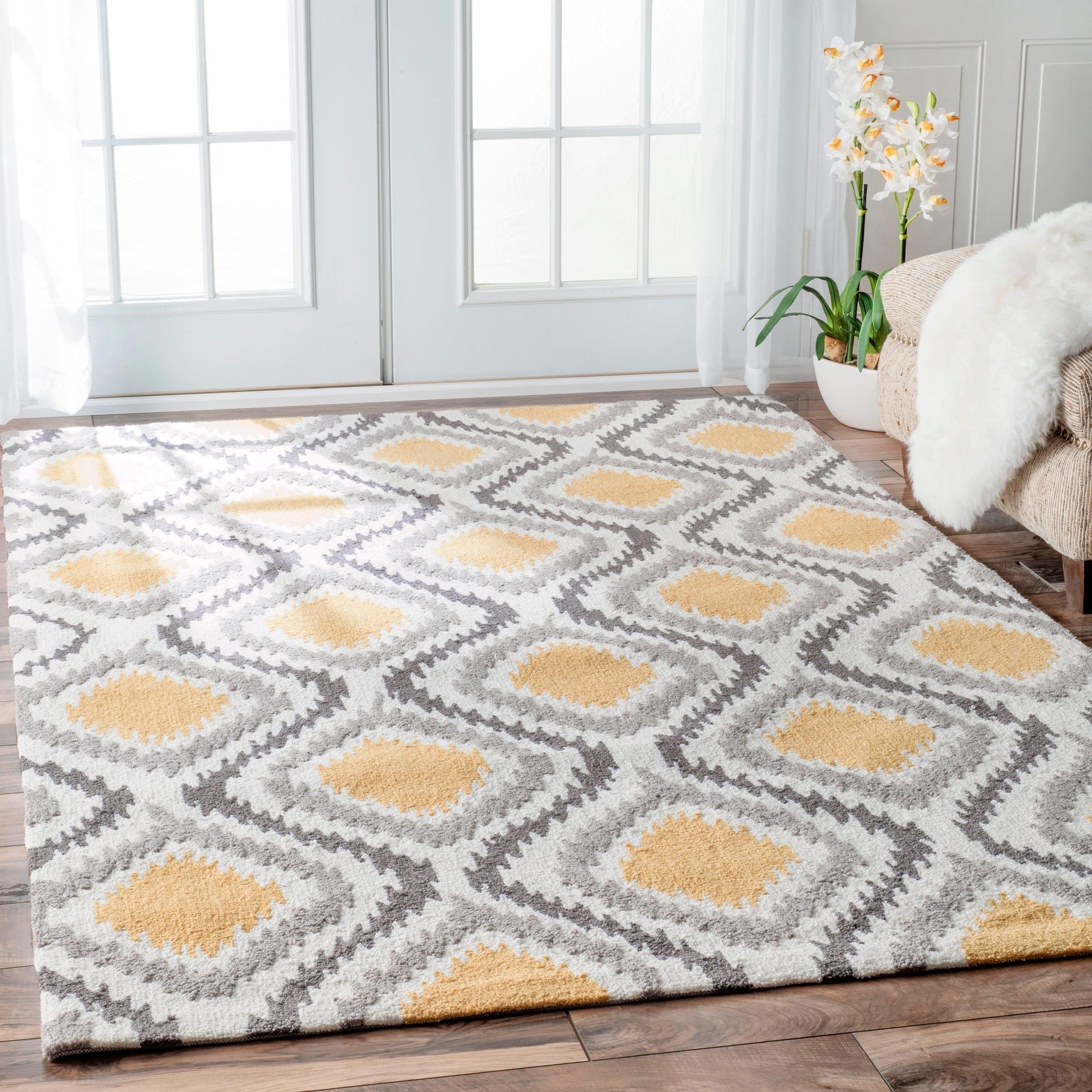 Palm Canyon Algiers Hand Hooked Modern Ikat Wool Area Rug