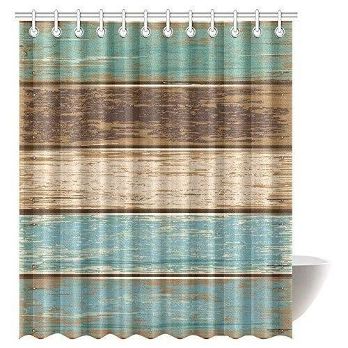 Wooden Fabric Bathroom Shower Curtain 72 X 84 Inches