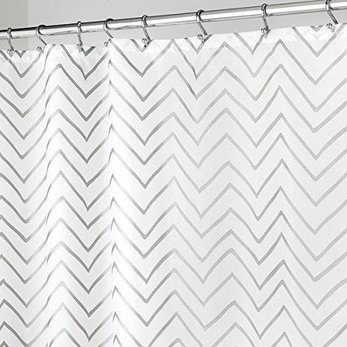 Shop Long Decorative Metallic Chevron Print Fabric Shower Curtain 72