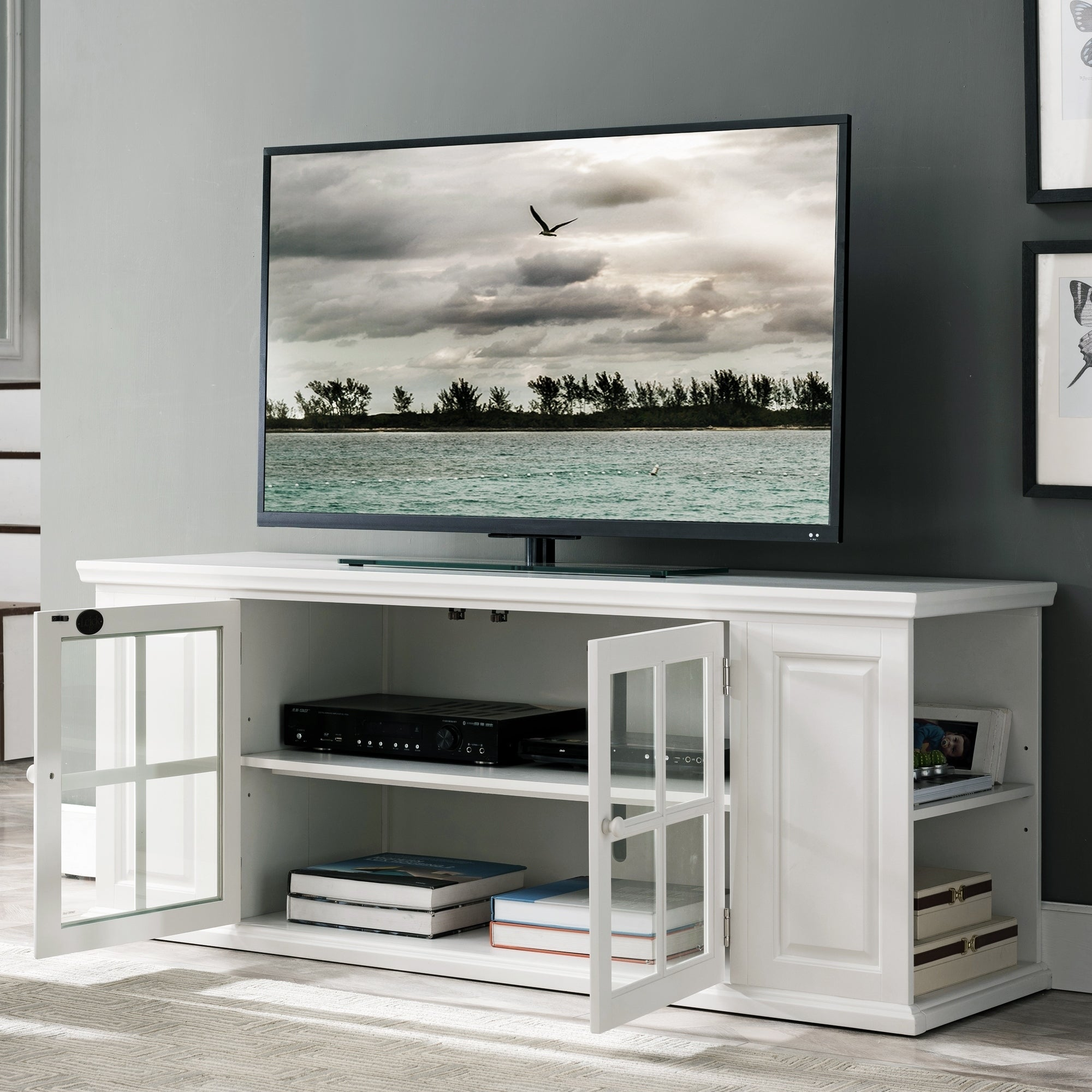 Shop Cottage White 62 Inch Tv Stand With Bookcase Ends Free
