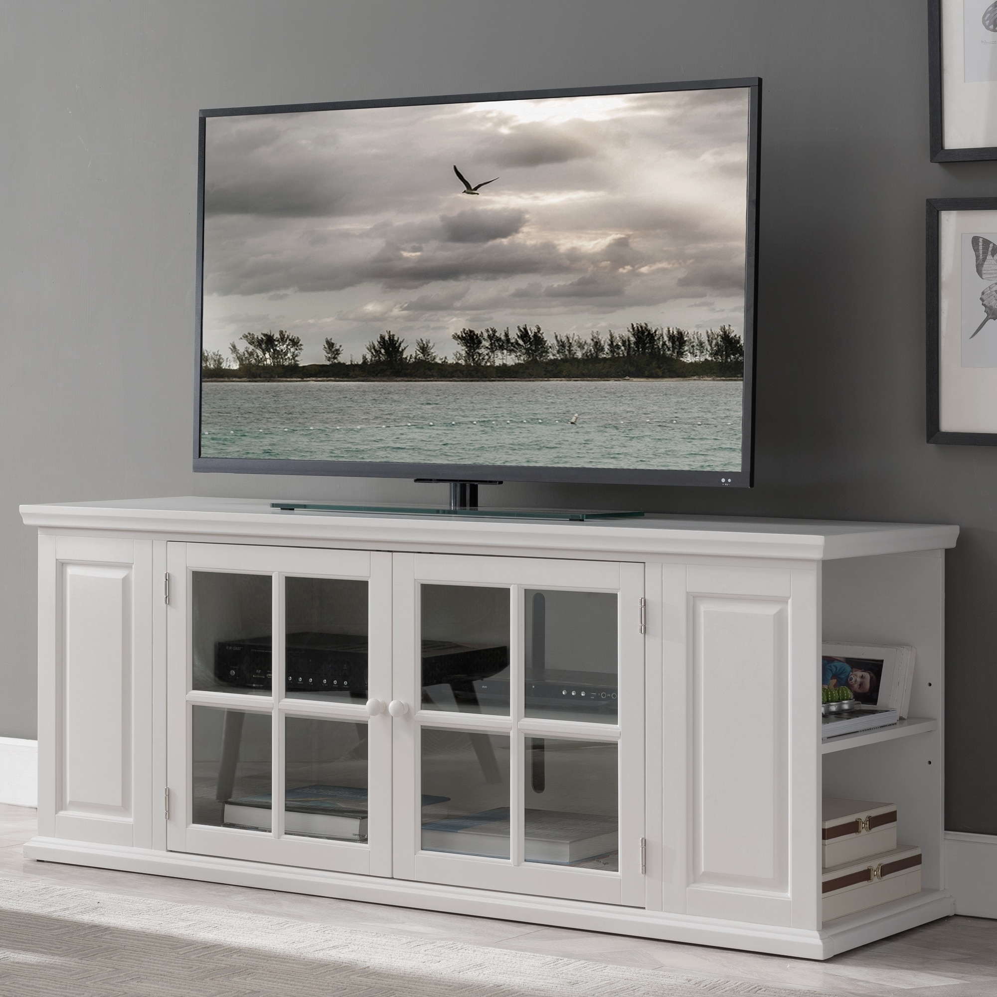 stand shabby white design chic cottage home tv ideas