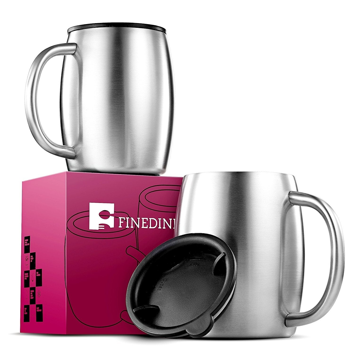 Double Wall Stainless Steel Coffee Mugs With Lids And Handle Set Of 2