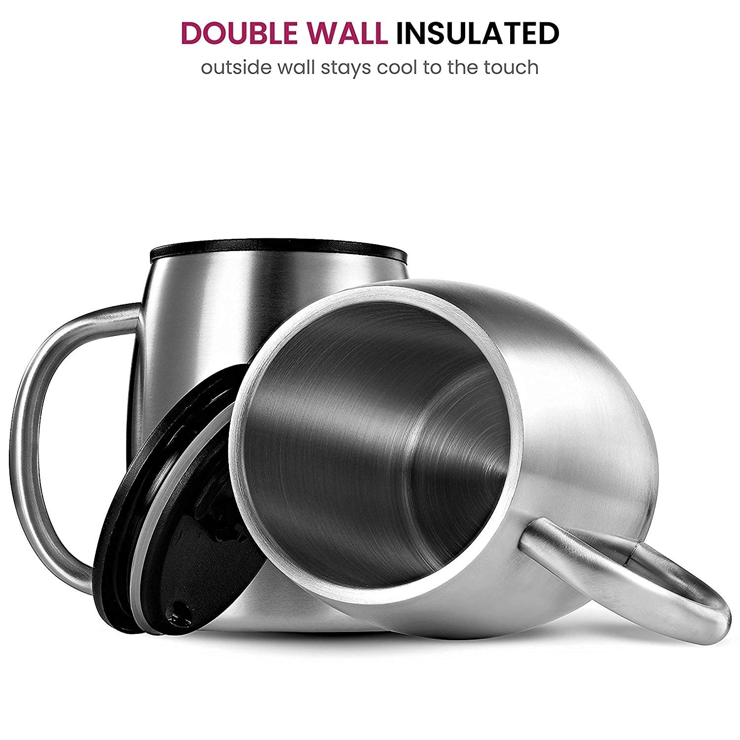508d461d986 Shop Double Wall Stainless Steel Coffee Mugs with Lids And Handle -Set of 2  - Free Shipping On Orders Over  45 - Overstock - 20464958
