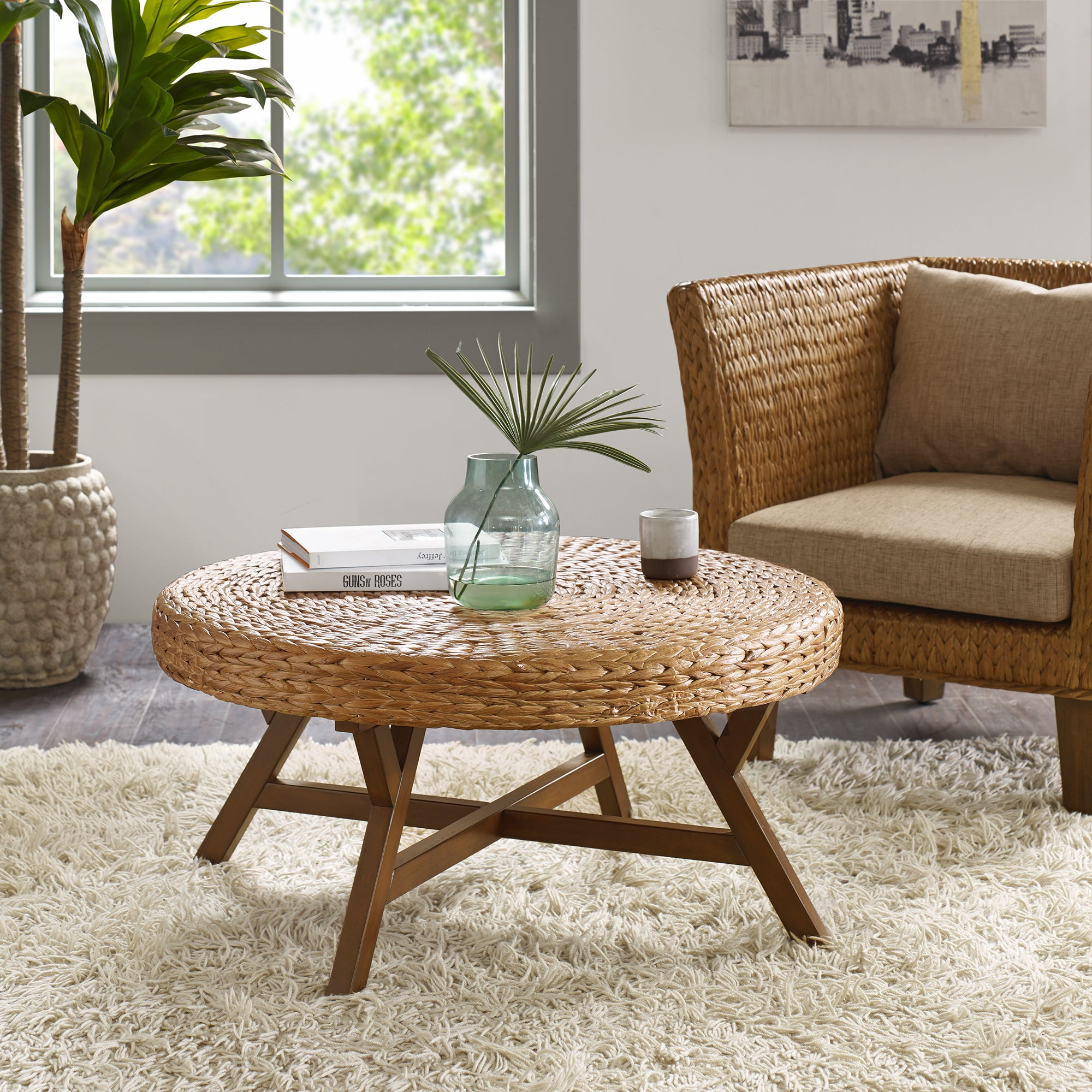 INK IVY Seadrift Brown Round Coffee Table Free Shipping Today