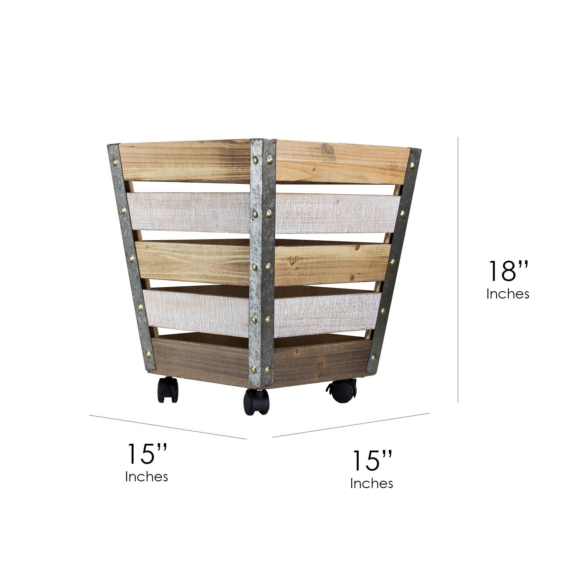 Shop American Art Decor Large Storage Crate With Wheels   Free Shipping  Today   Overstock.com   20466098