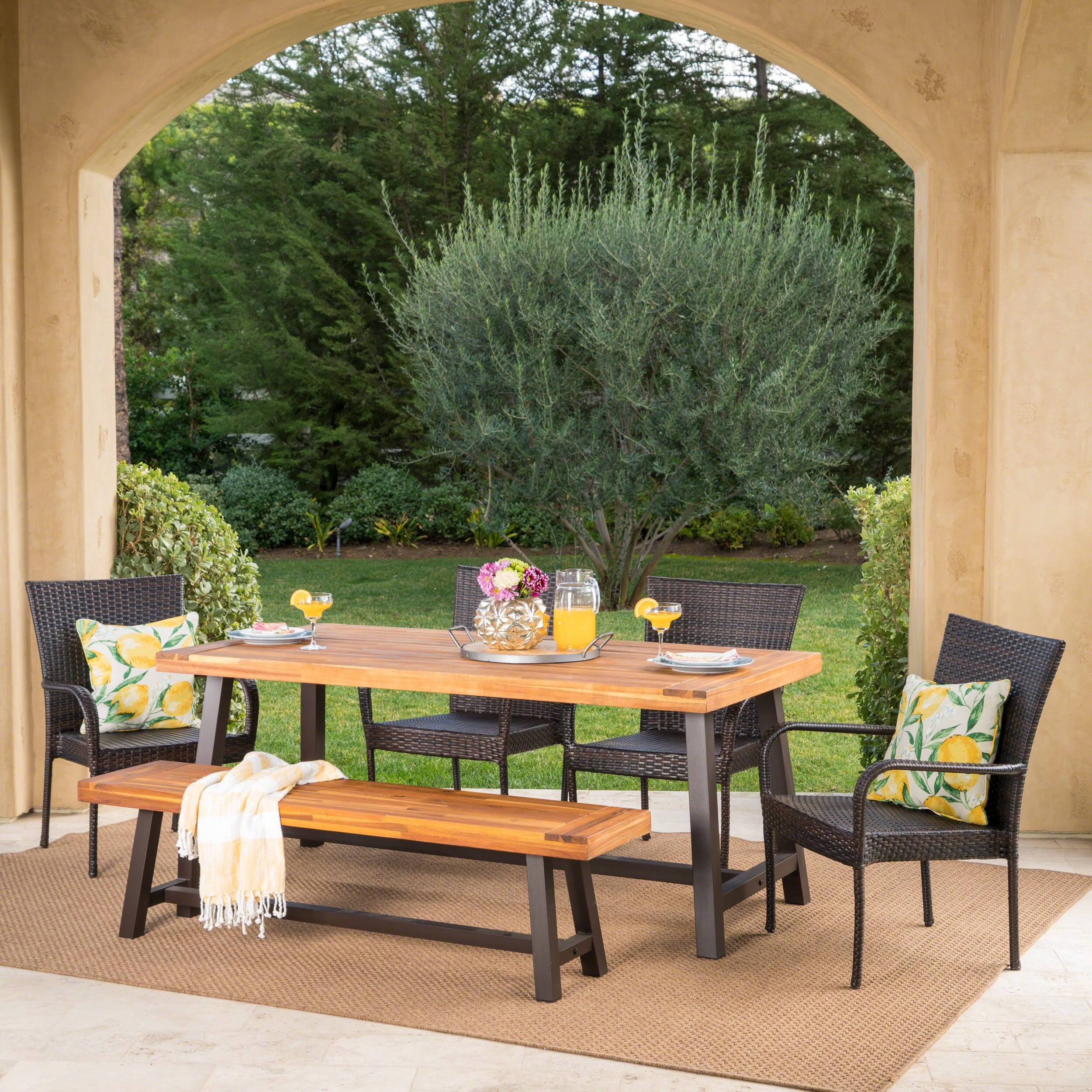 Cooper outdoor 6 piece rectangle acacia wood wicker dining set by christopher knight home