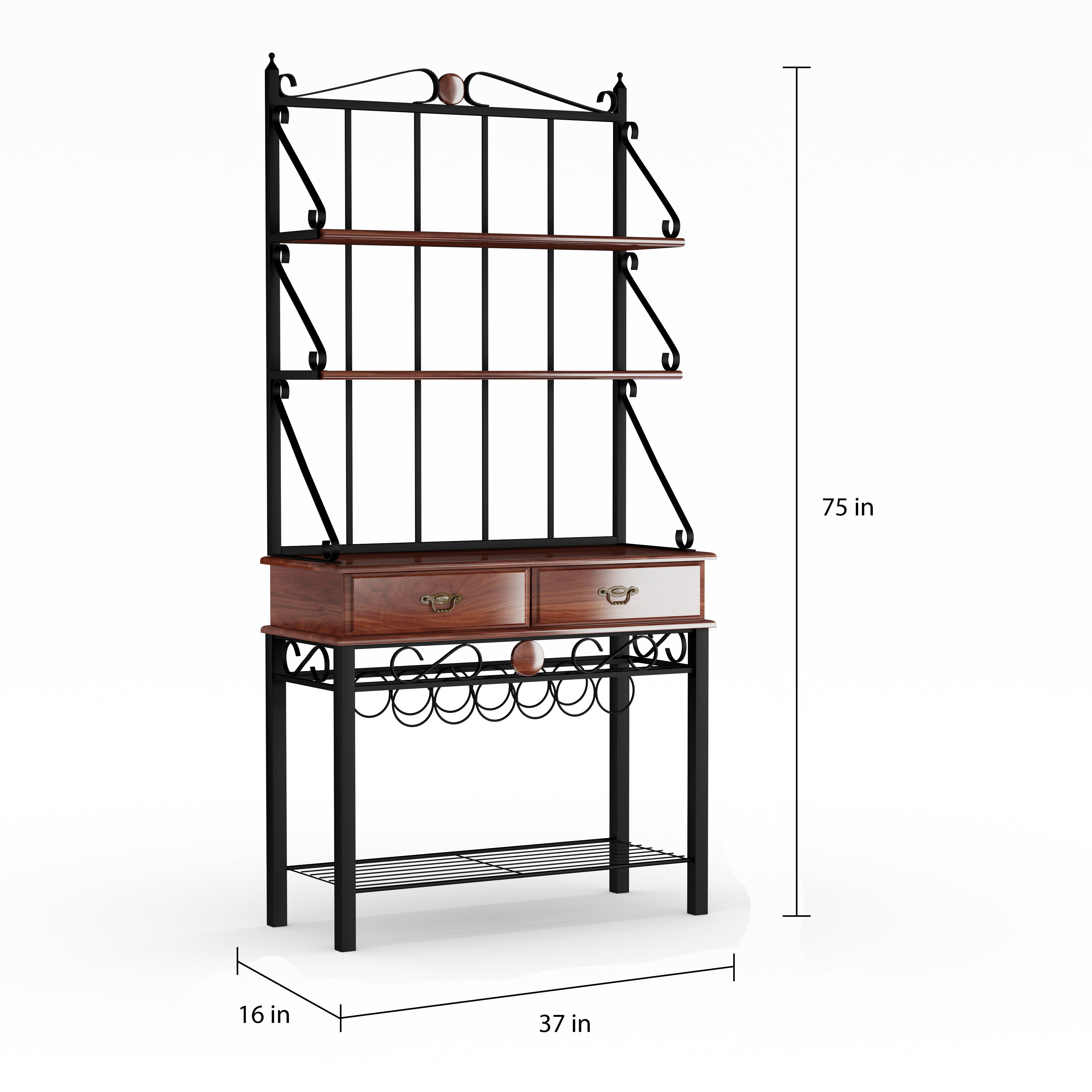 Gracewood Hollow Heyer Kitchen Cabinet Bakers Rack with 3 Shelves ...
