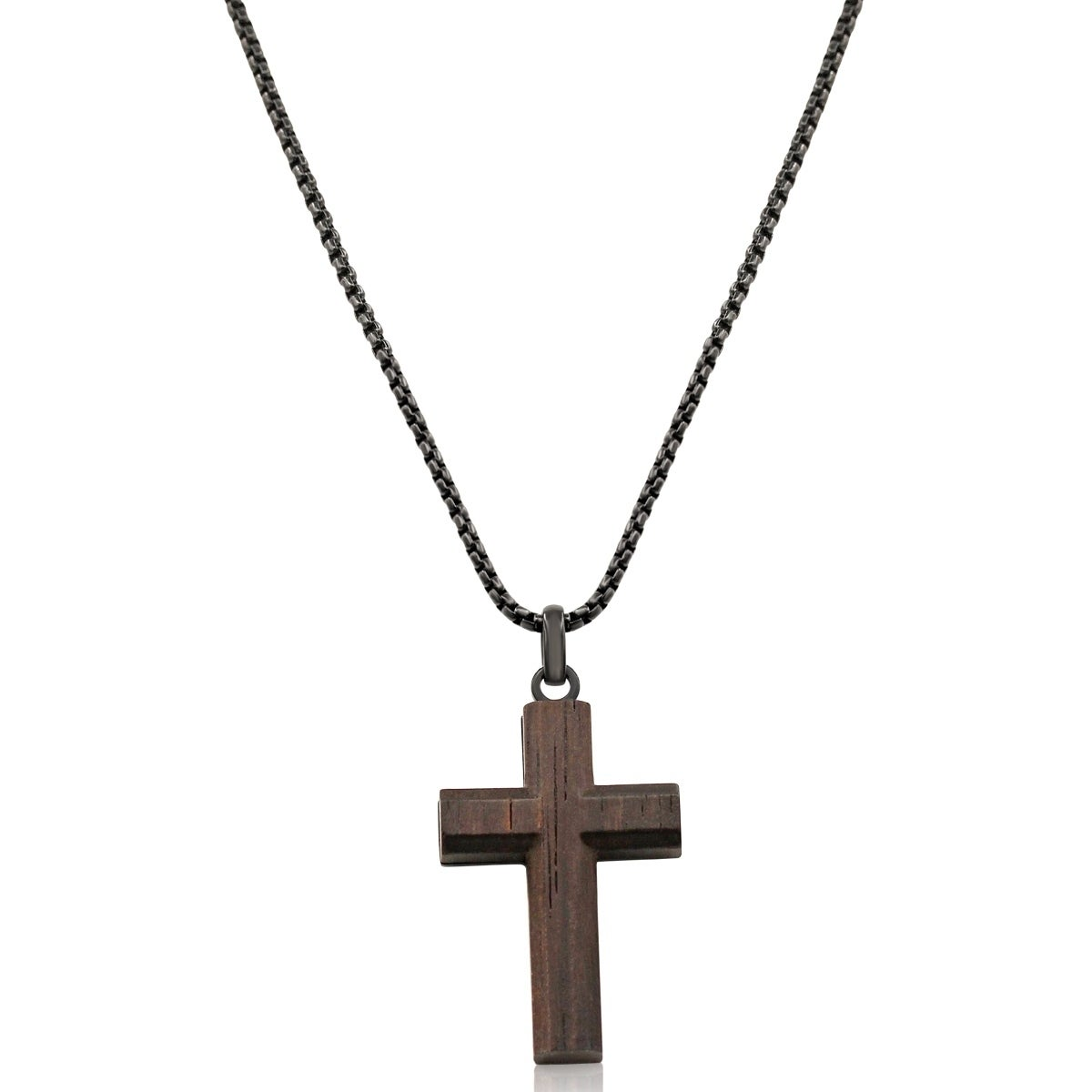 Koa wood and black stainless steel cross necklace 24 inches free koa wood and black stainless steel cross necklace 24 inches free shipping on orders over 45 overstock 26336277 aloadofball Choice Image