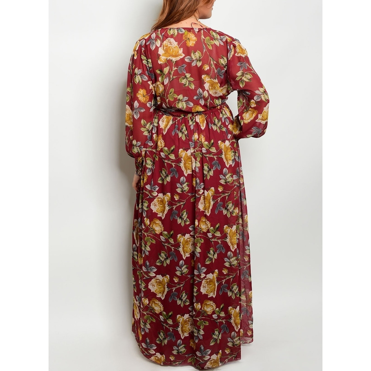 c369c12742f0 Shop JED Women's Plus Size Floral Long Sleeve Maxi Dress - Free Shipping On  Orders Over $45 - Overstock - 20478929