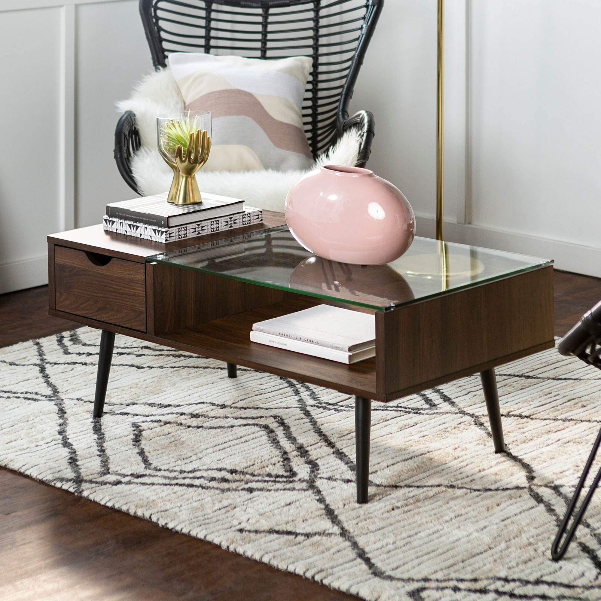 42 Mid Century Modern Wood And Gl Coffee Table X 22 18h On Free Shipping Today 20478960