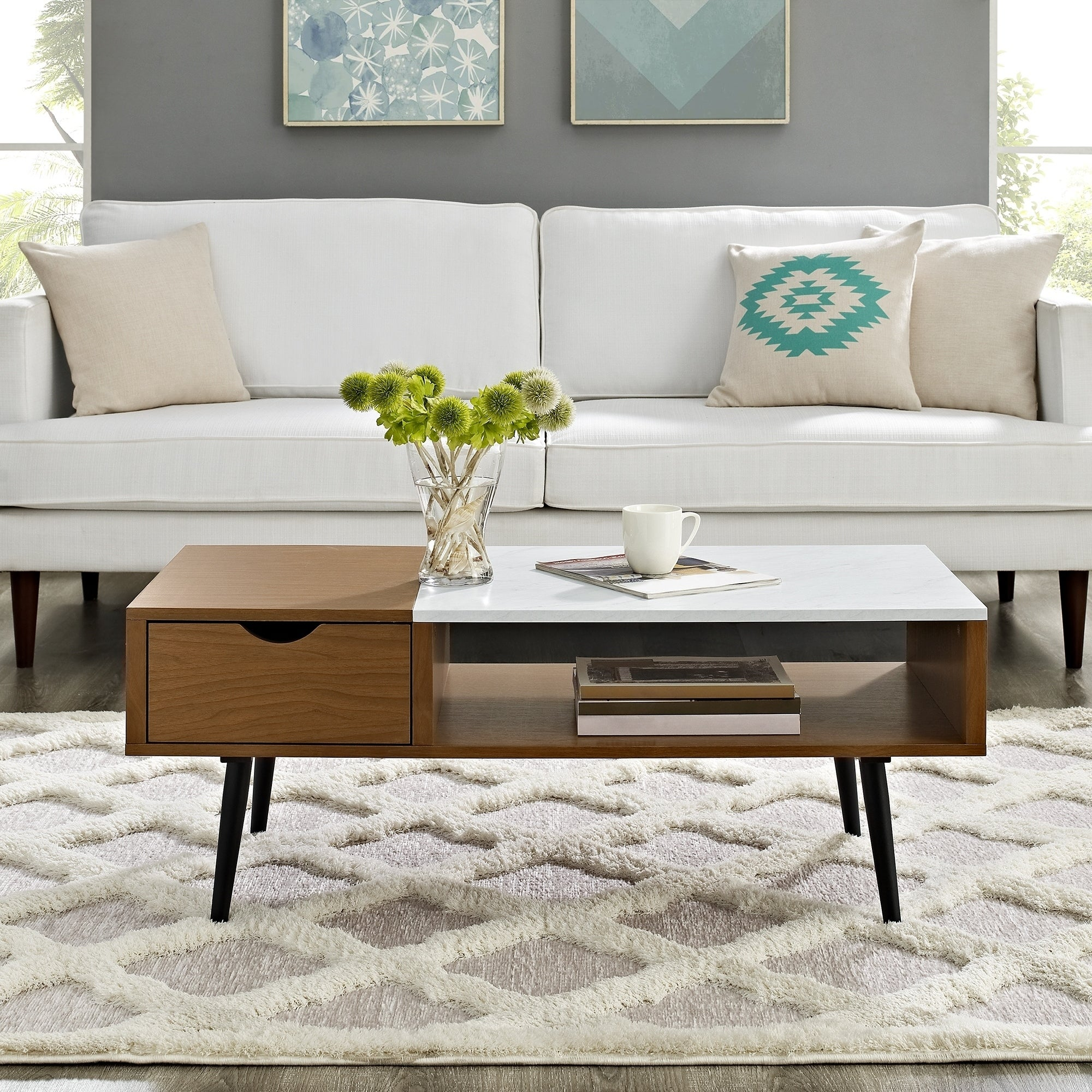 Shop 42 Mid Century Wood And Faux Marble Coffee Table 42 X 22 X