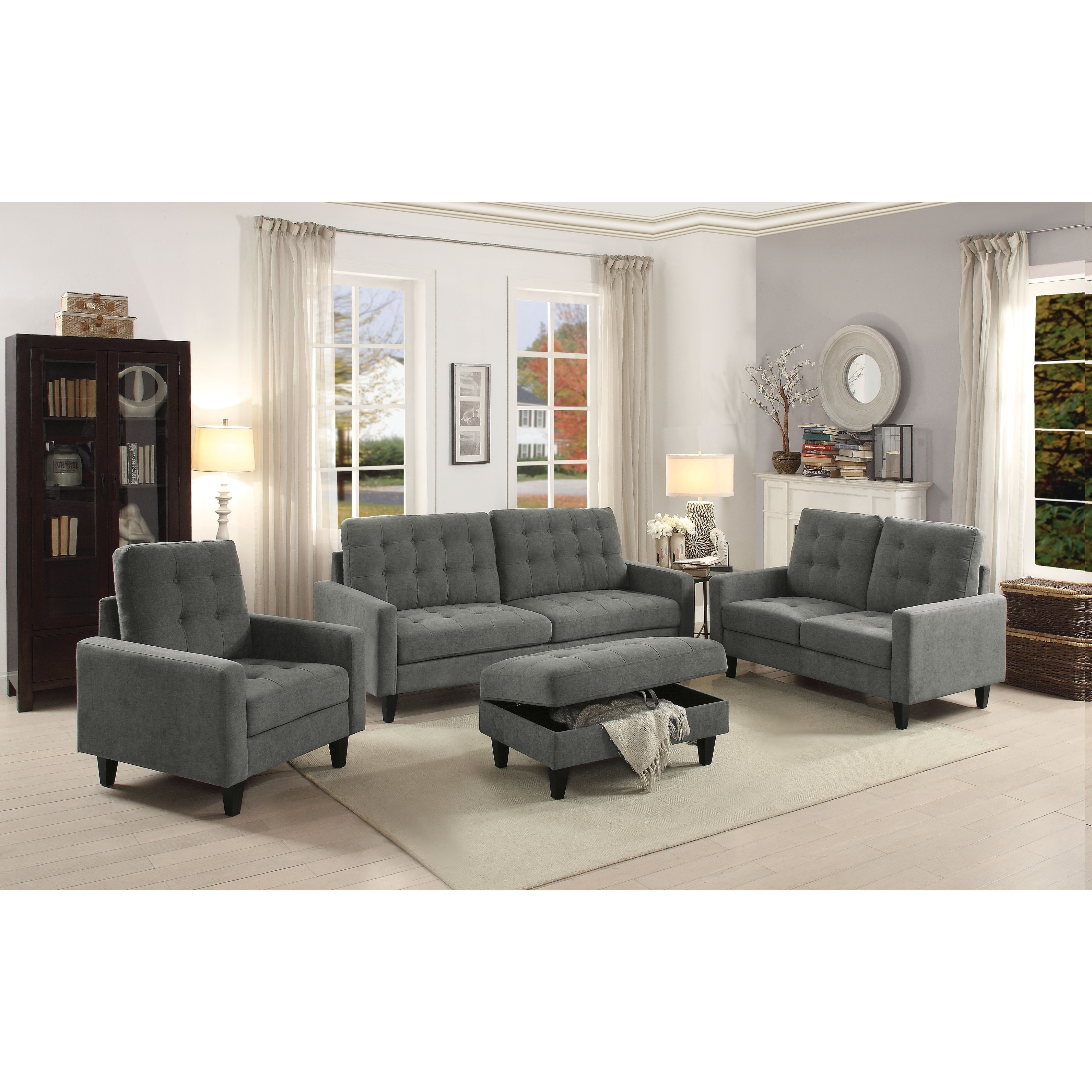 Acme nate memory foam sofa with tufting in gray fabric