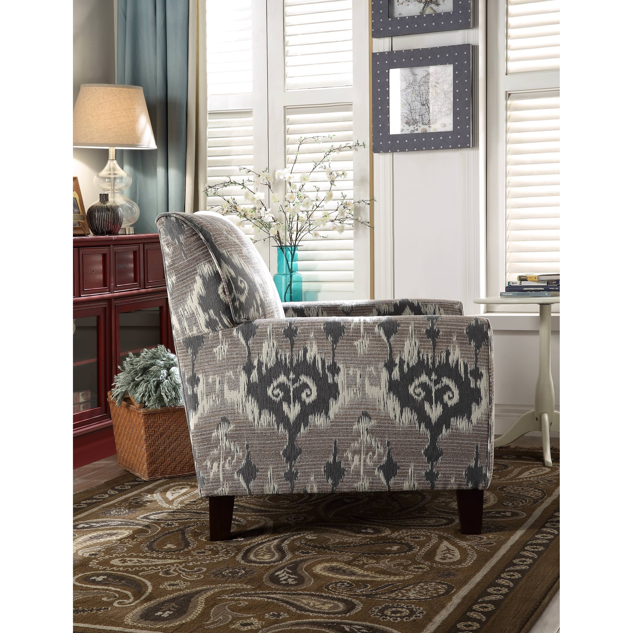 Shop Acme Cyndi Accent Arm Chair In Ikat Pattern Fabric   Free Shipping  Today   Overstock.com   20480326