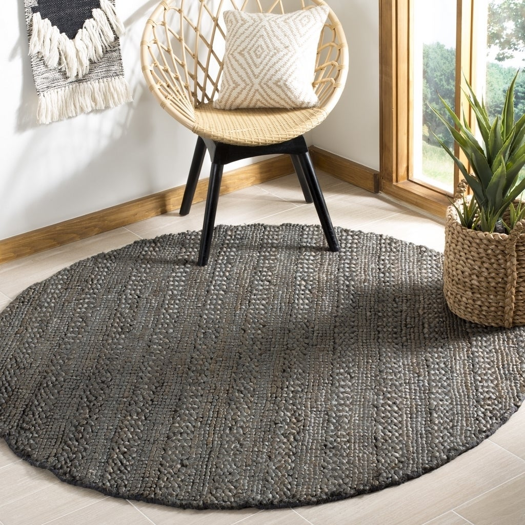 Safavieh Handmade Natural Fiber Casual Charcoal Jute Rug 6 X Round On Free Shipping Today 20481525