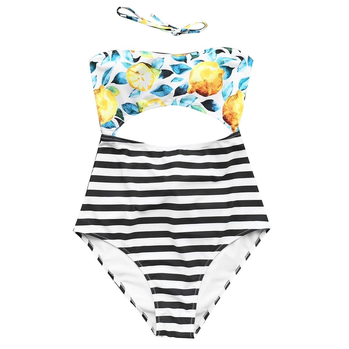 e8ee9b5a353c8 Shop Cupshe Women's Lemon Stripe Printing High-waisted One-piece Cutout Swimsuit  Sexy Bikini - Free Shipping On Orders Over $45 - Overstock - 20489015