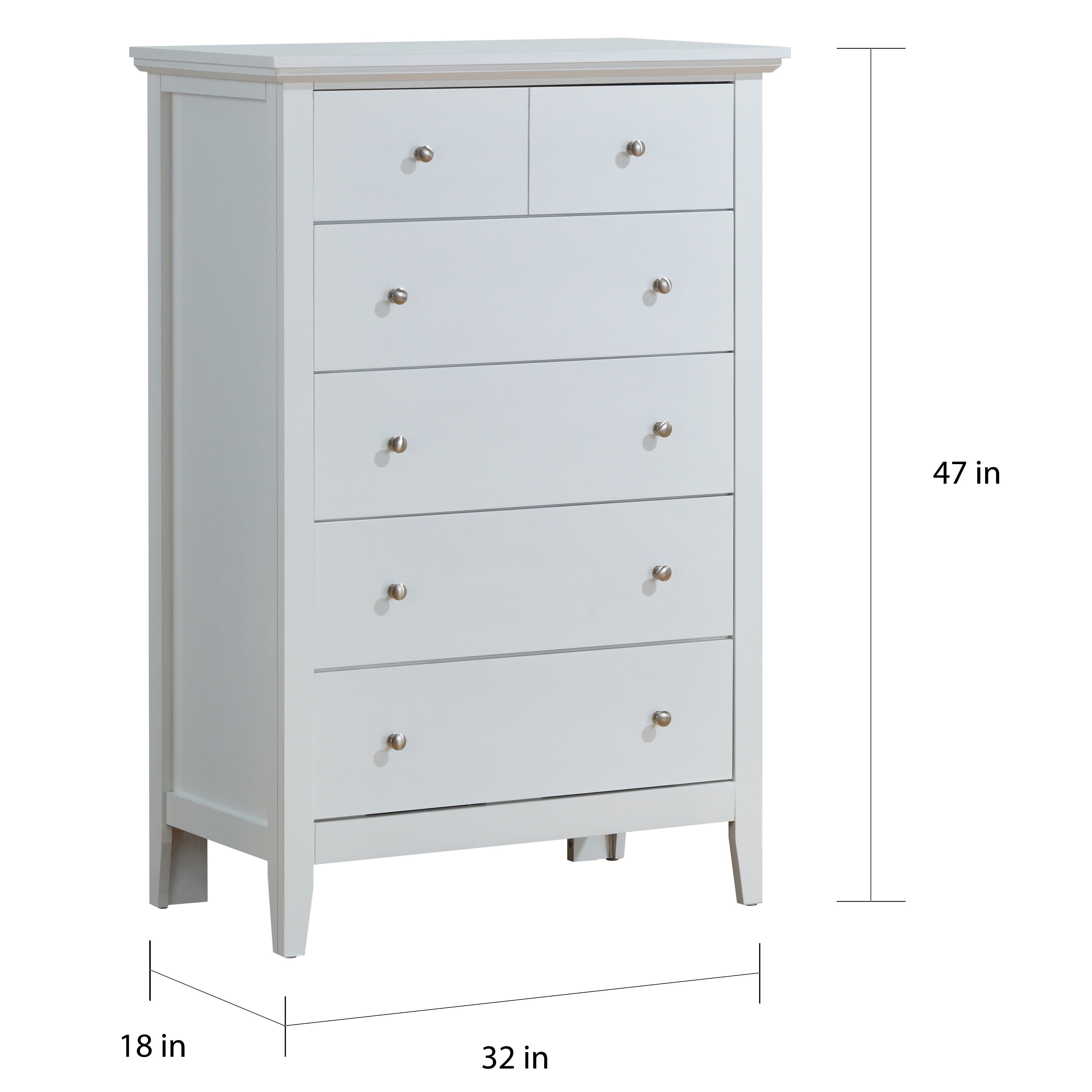Shop lyke home white 5 drawer chest on sale free shipping today overstock com 20497428