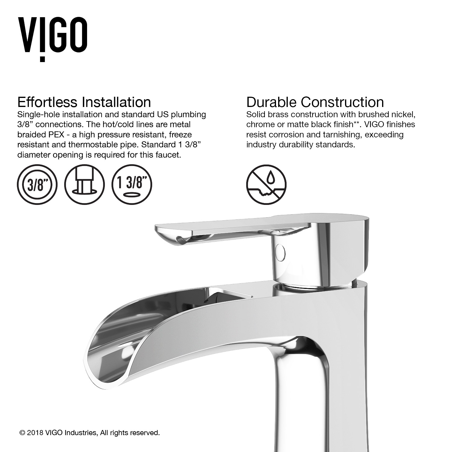 Shop VIGO Paloma Single Hole Bathroom Faucet With Deck Plate - Free ...
