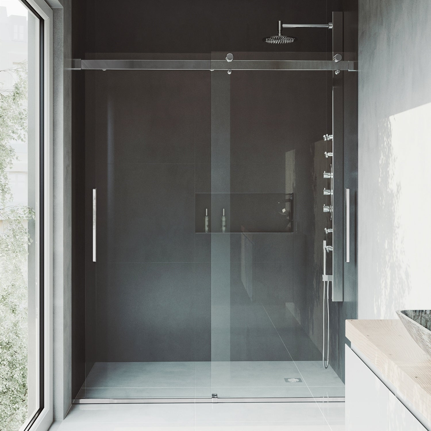Shop Vigo Caspian Chrome Adjustable Frameless Sliding Shower Door