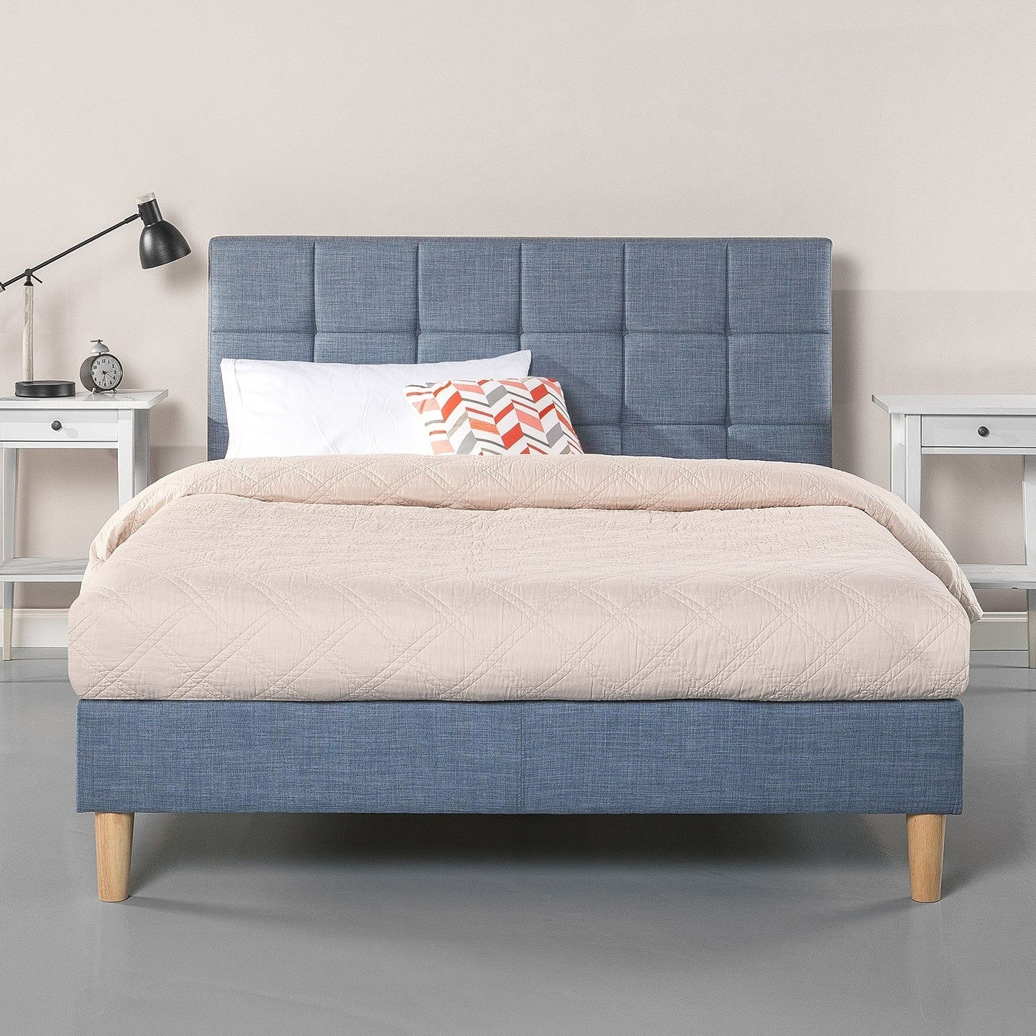 Priage By Zinus Square Sched Platform Bed Light Blue