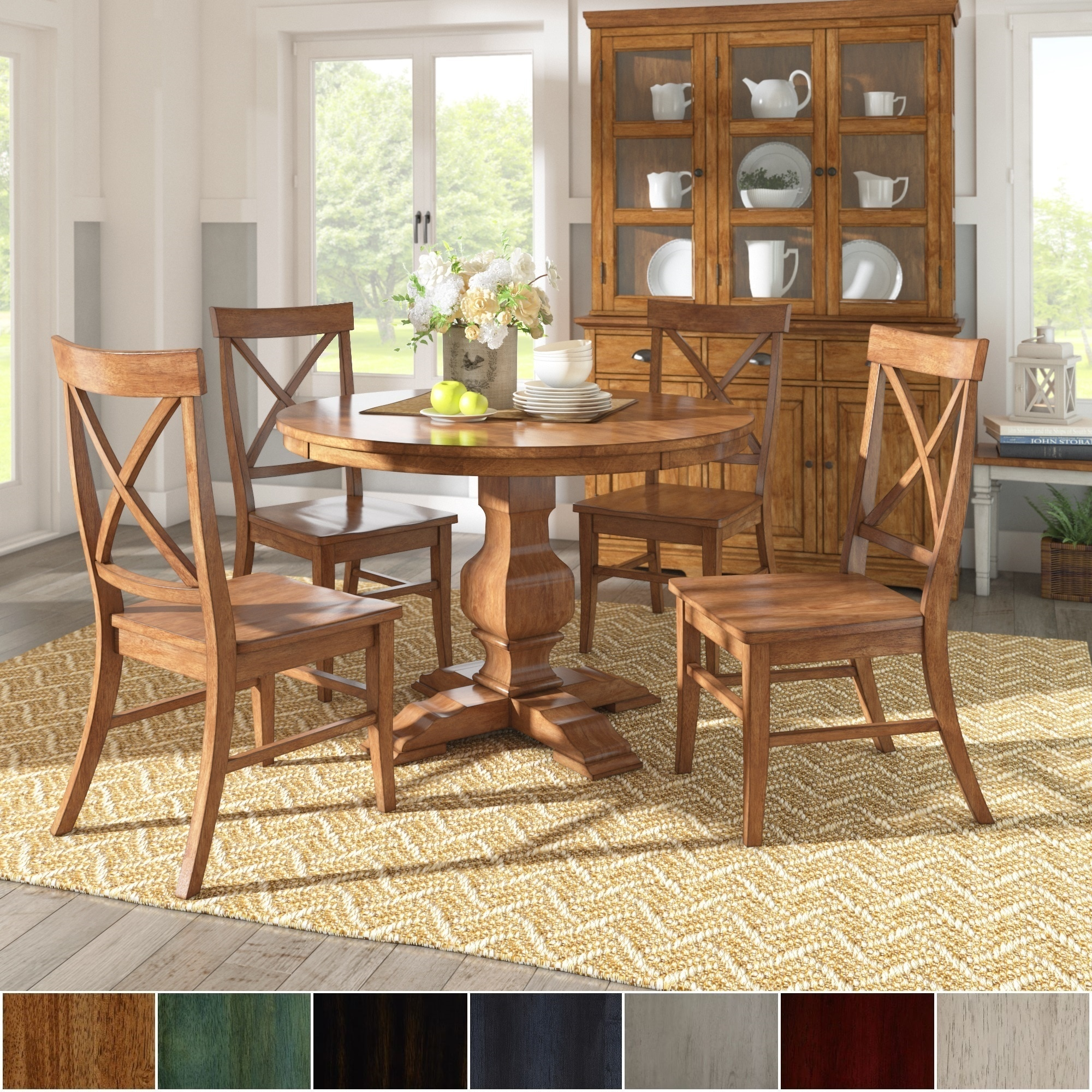 Eleanor oak finish wood 5 piece round table x back chairs dining set by inspire q classic